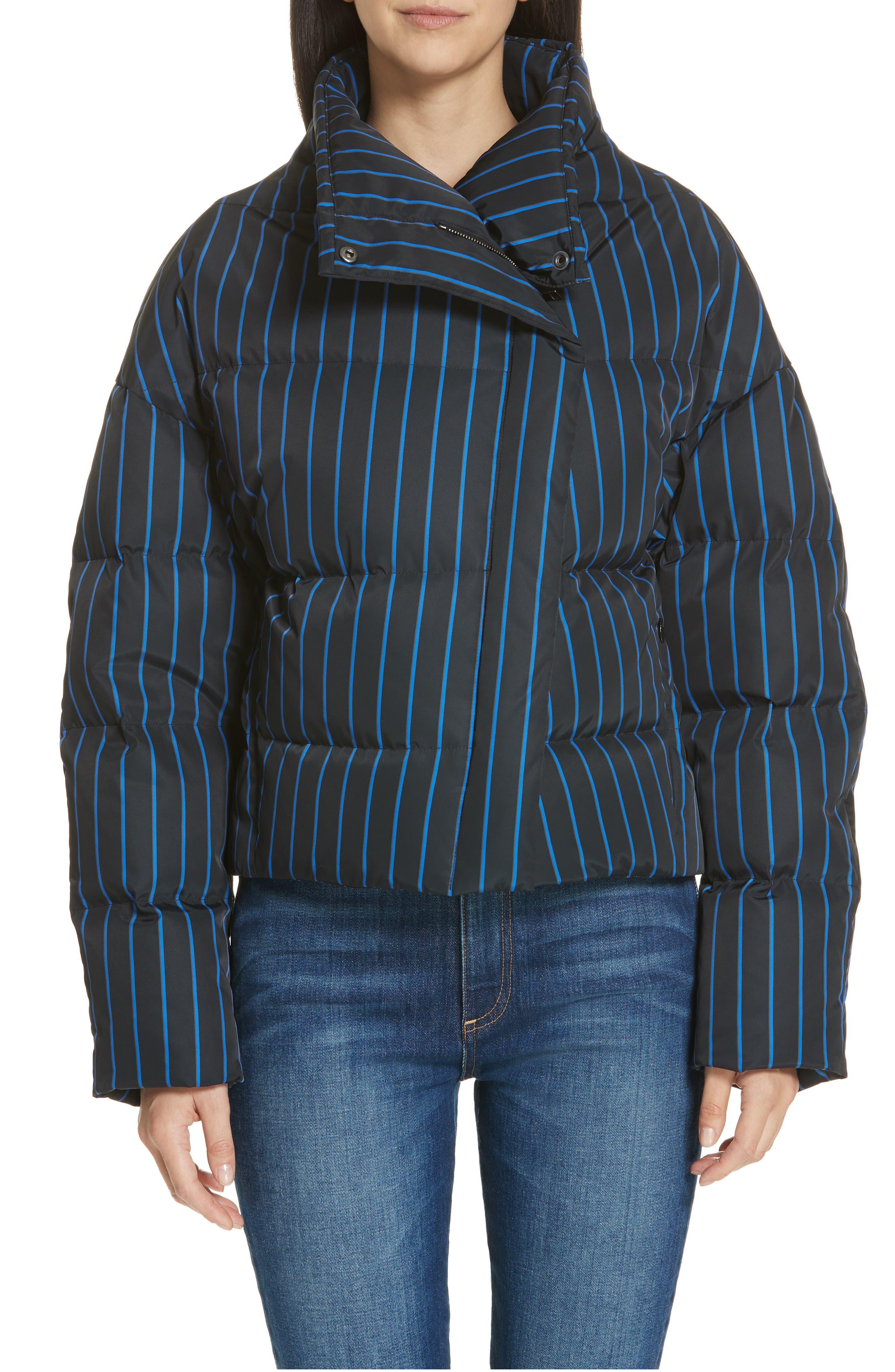 Asymmetrical Stripe Puffer Jacket,                             Main thumbnail 1, color,                             BLACK MULTI