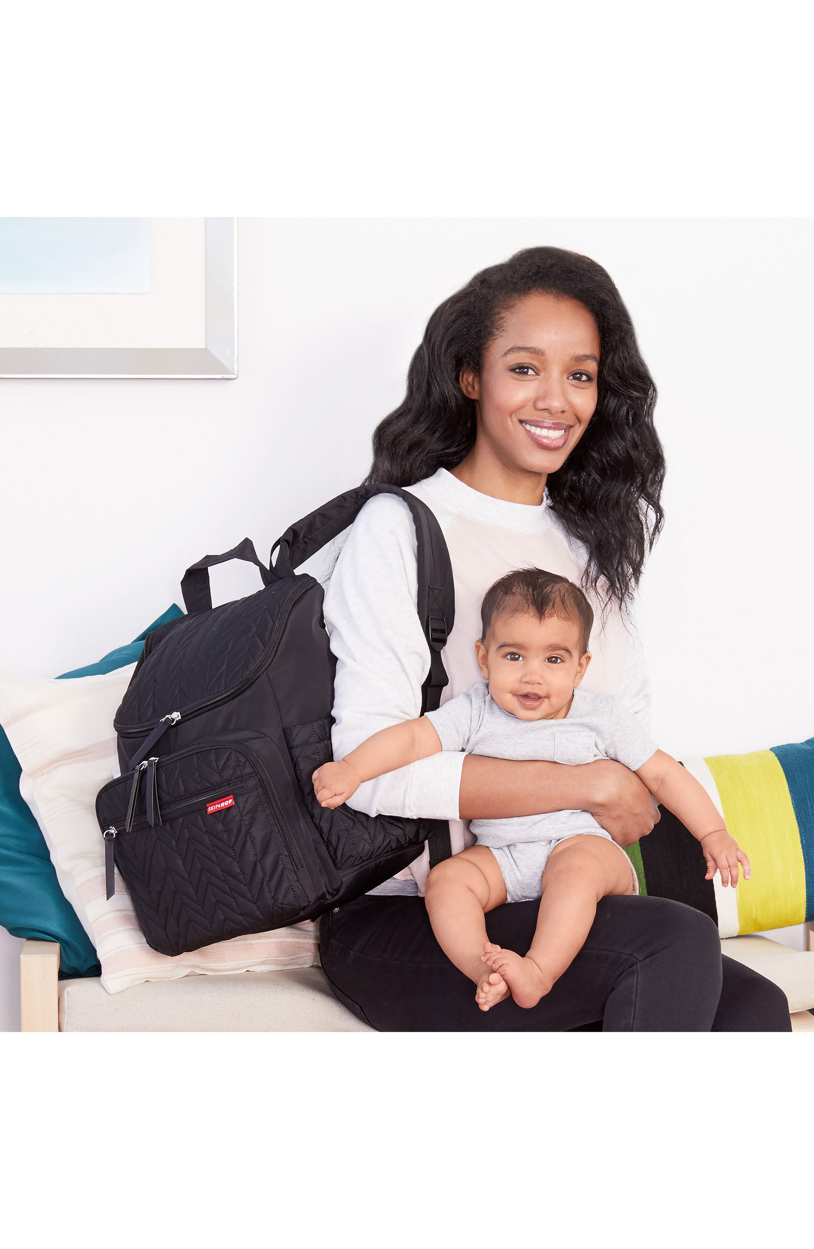 'Forma' Diaper Backpack,                             Alternate thumbnail 4, color,                             JET BLACK