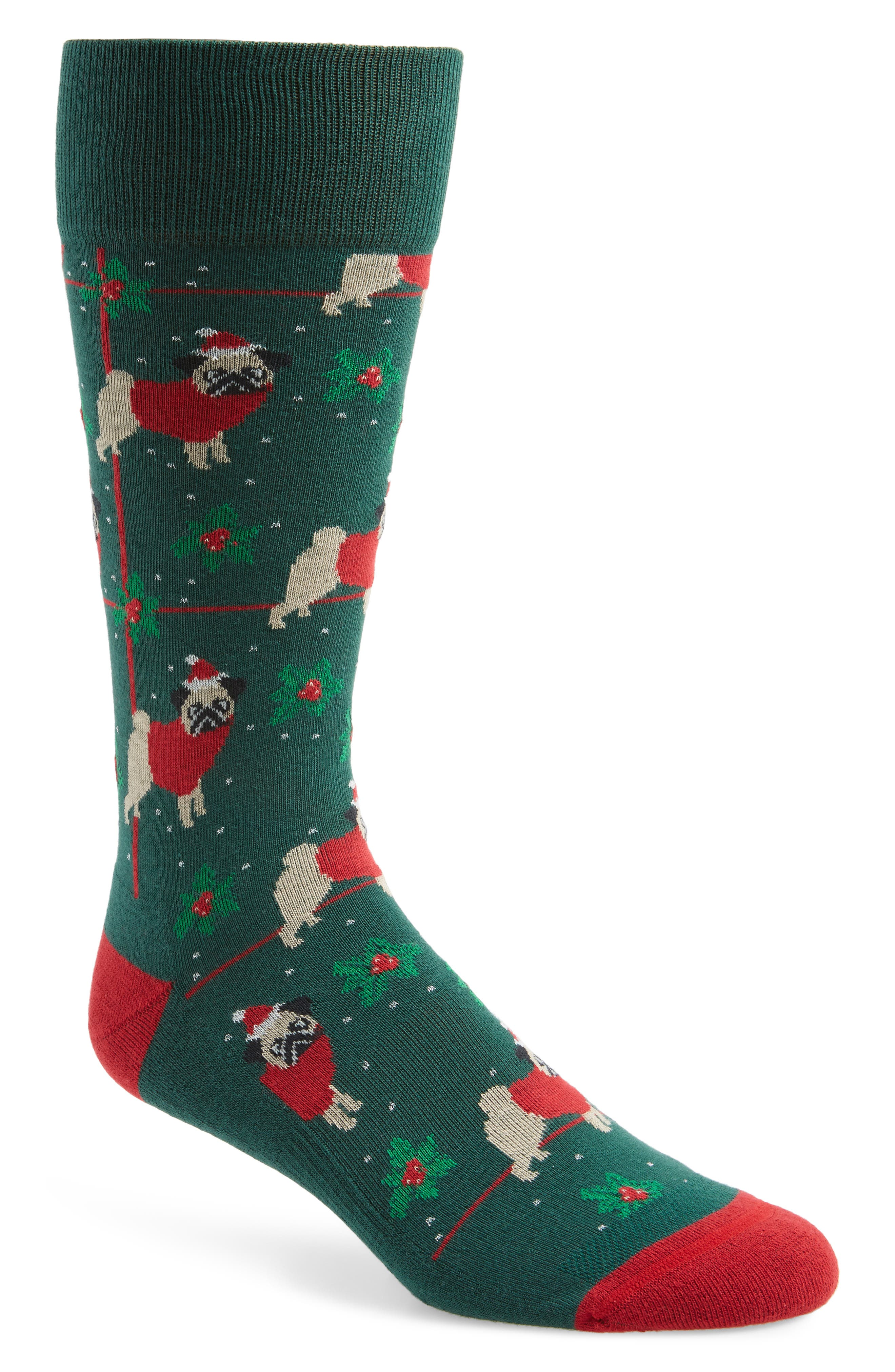 Holiday Santa Pug Socks,                             Main thumbnail 1, color,                             301