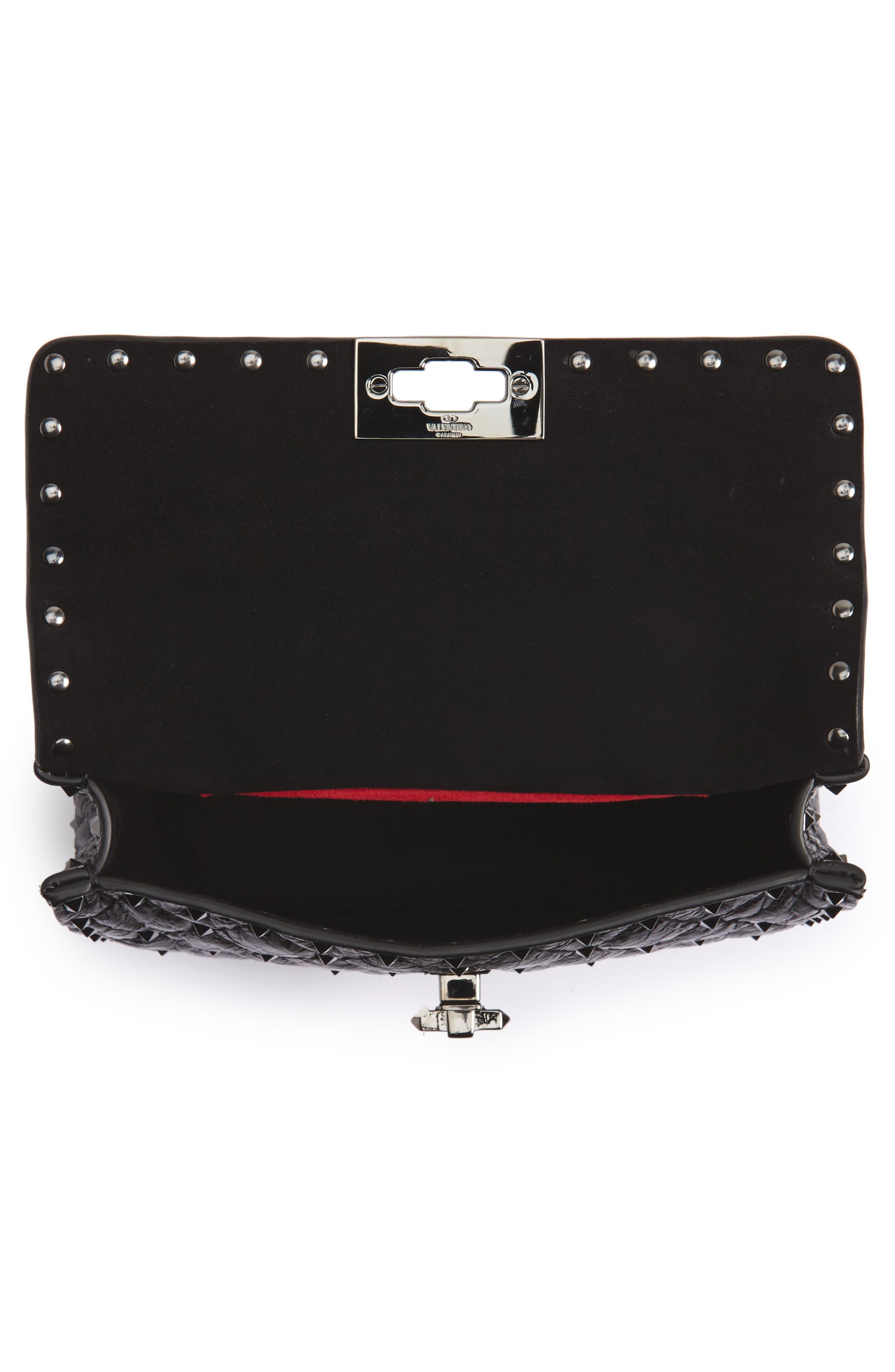 Vitello Rockstud Leather Shoulder Bag,                             Alternate thumbnail 4, color,                             001