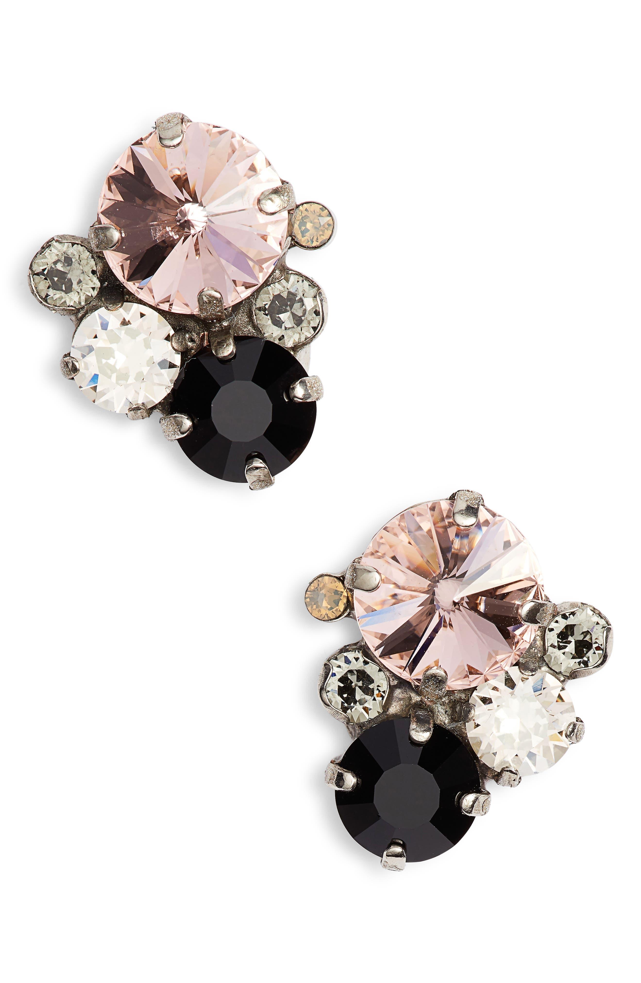 Crystal Earrings,                         Main,                         color, PINK/ BLACK