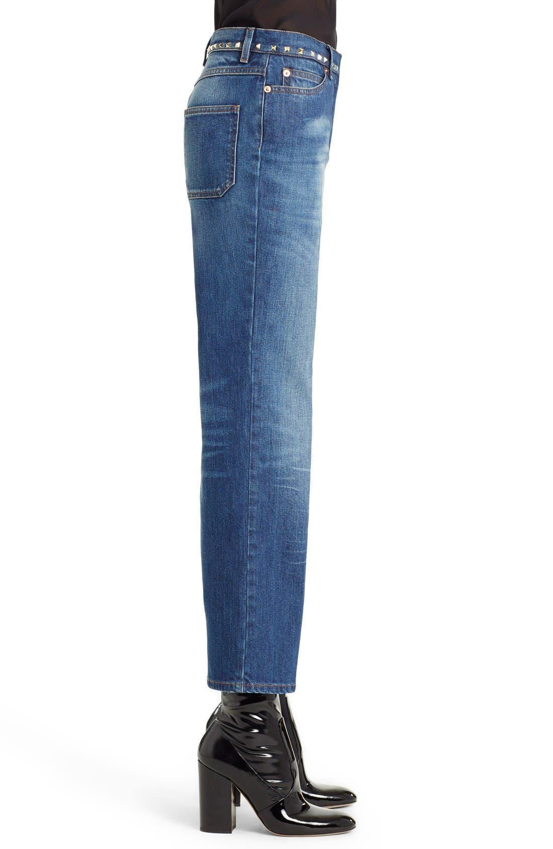 Studded Wide Leg Jeans,                             Alternate thumbnail 3, color,                             MEDIUM BLUE