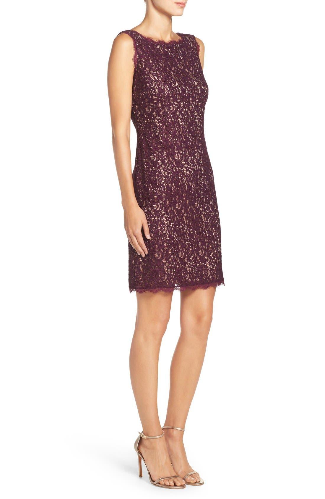 Boatneck Lace Sheath Dress,                             Alternate thumbnail 113, color,