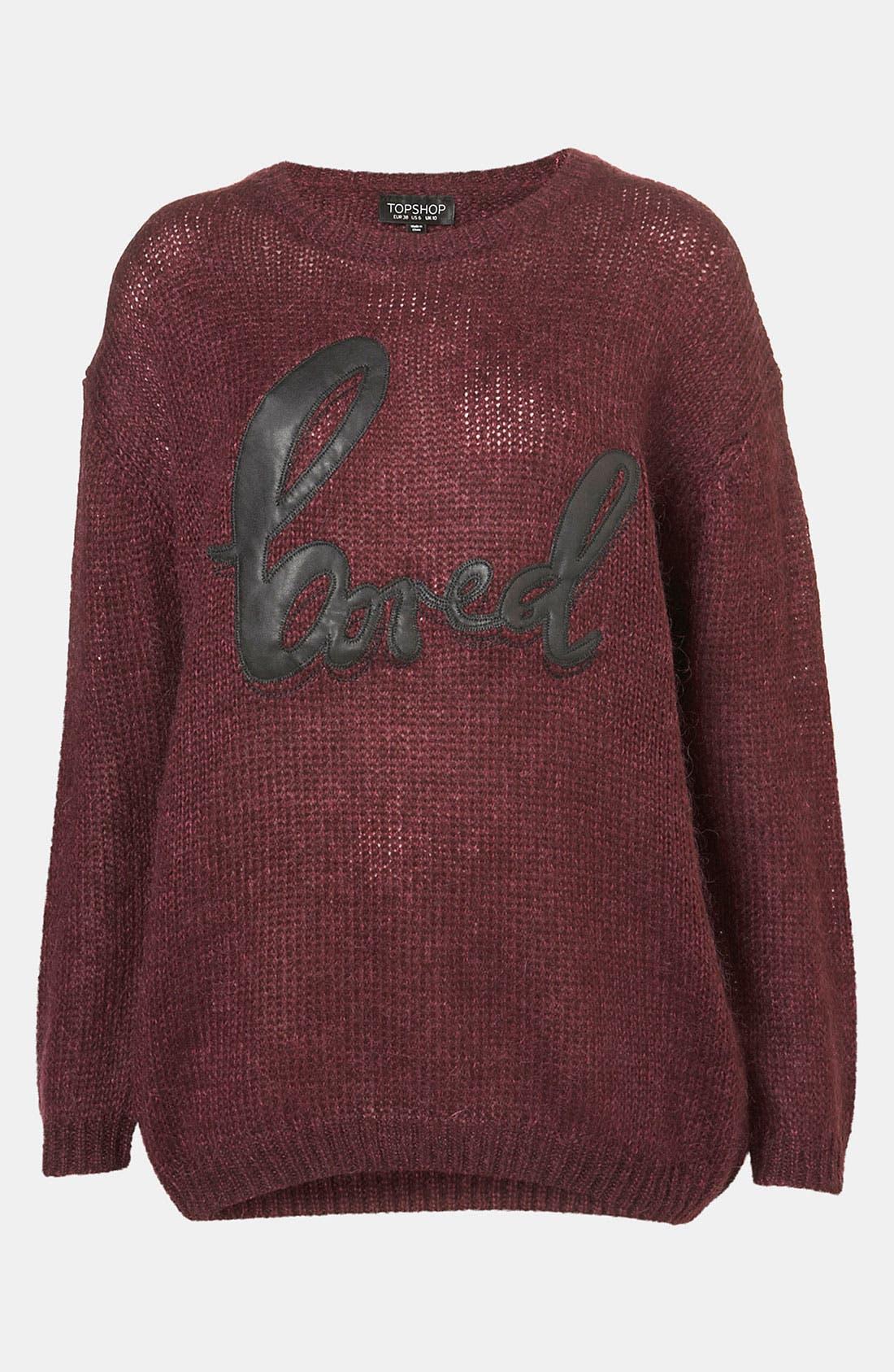 TOPSHOP 'Bored' Faux Leather Appliqué Sweater, Main, color, 930