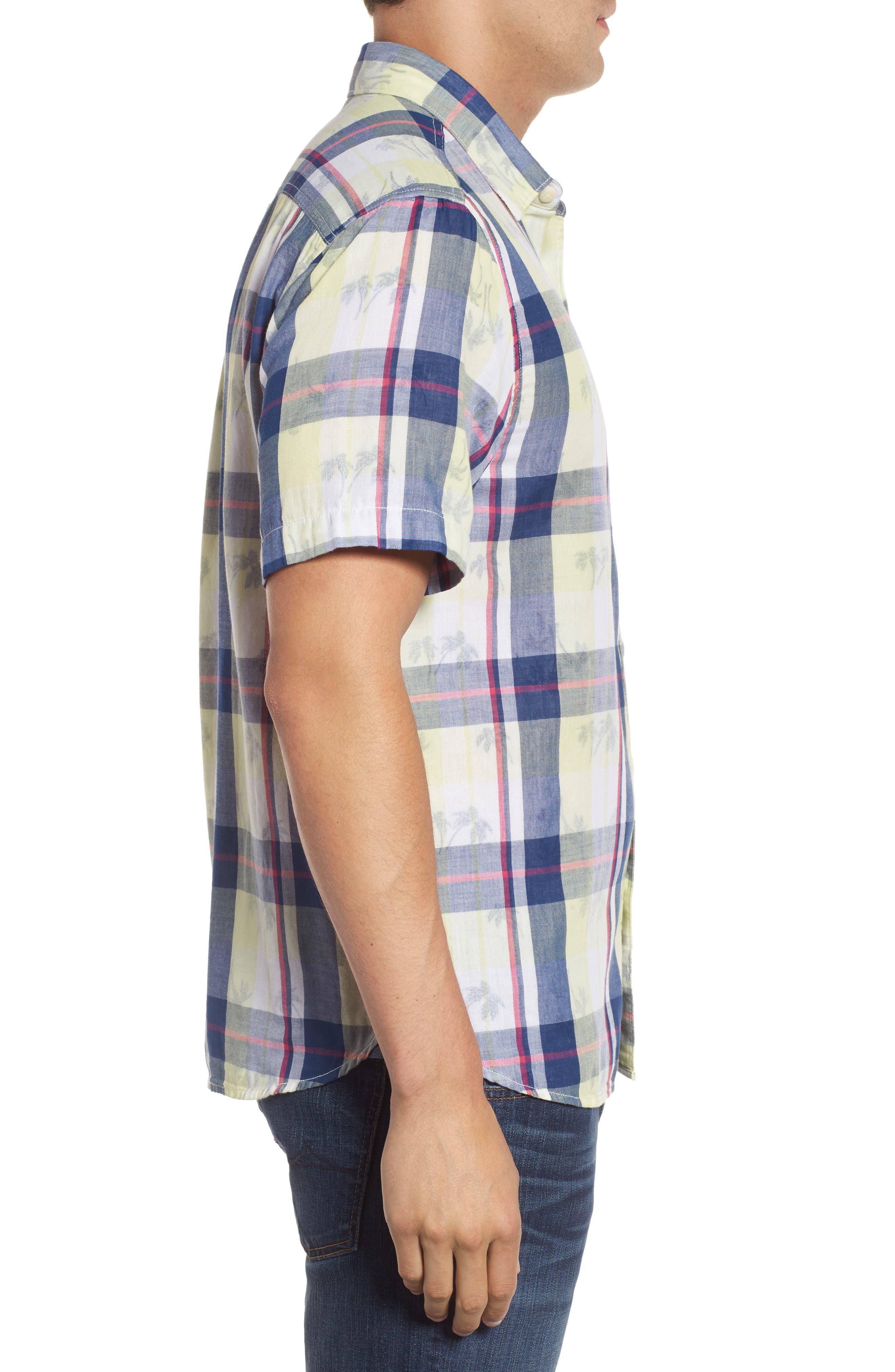 Double Flora Plaid Cotton Camp Shirt,                             Alternate thumbnail 3, color,                             400