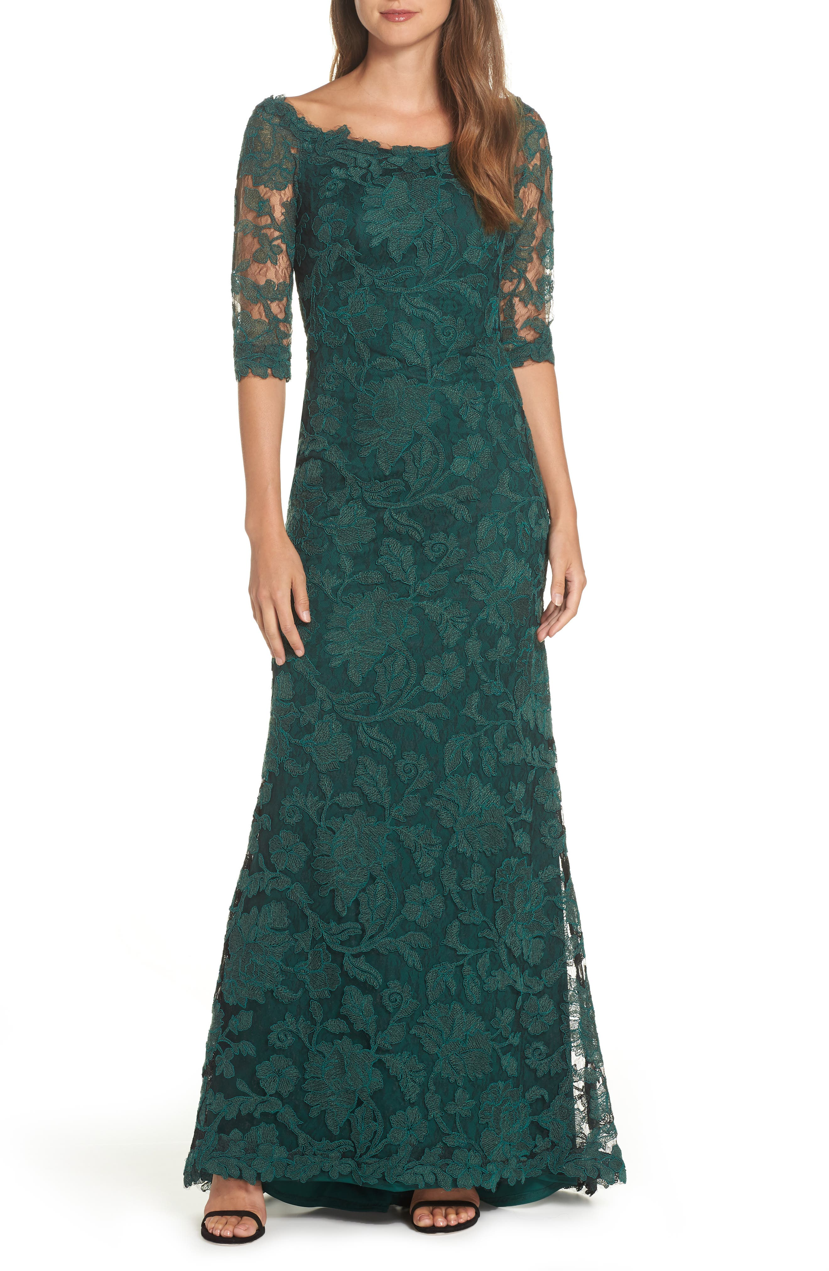 Embroidered Boat Neck Mermaid Gown,                             Main thumbnail 1, color,                             SEAGRASS