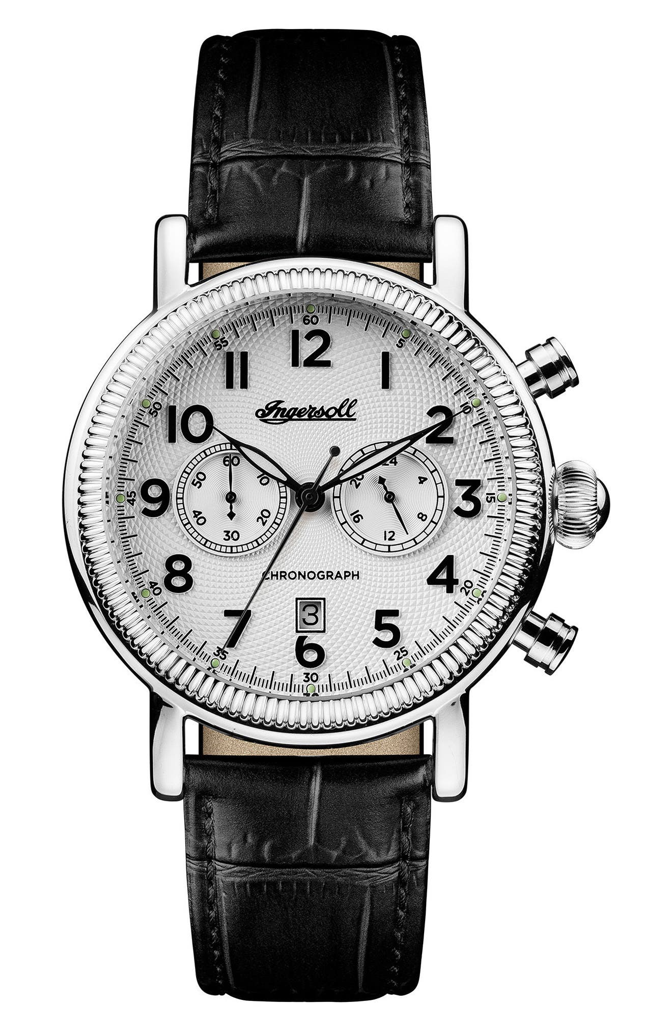 Ingersoll Daniells Chronograph Leather Strap Watch, 44mm,                             Main thumbnail 1, color,                             001