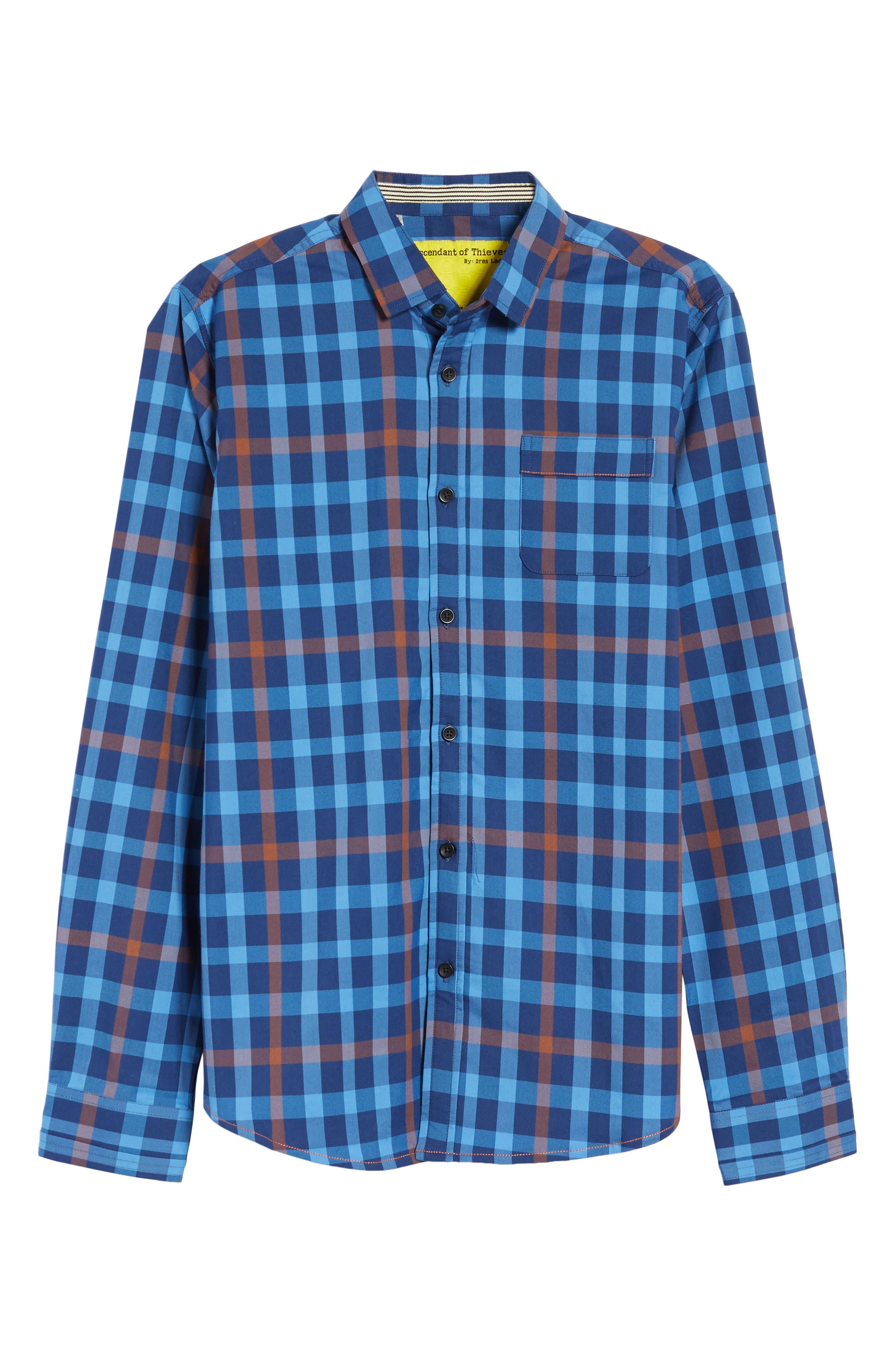 Plaid Sport Shirt,                             Alternate thumbnail 4, color,                             400