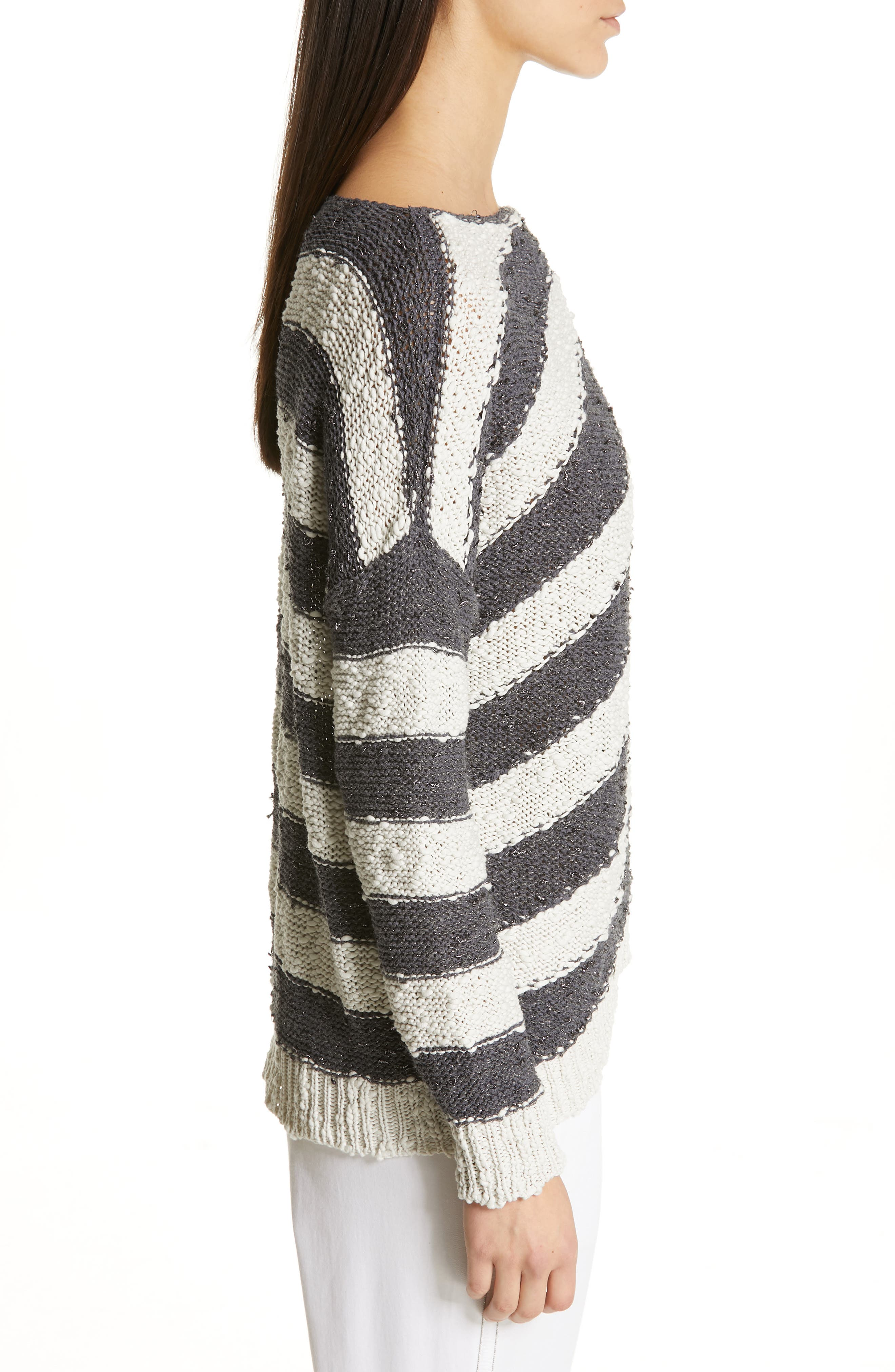 Stripe Knit Sweater,                             Alternate thumbnail 3, color,                             SLATE/ WHITE
