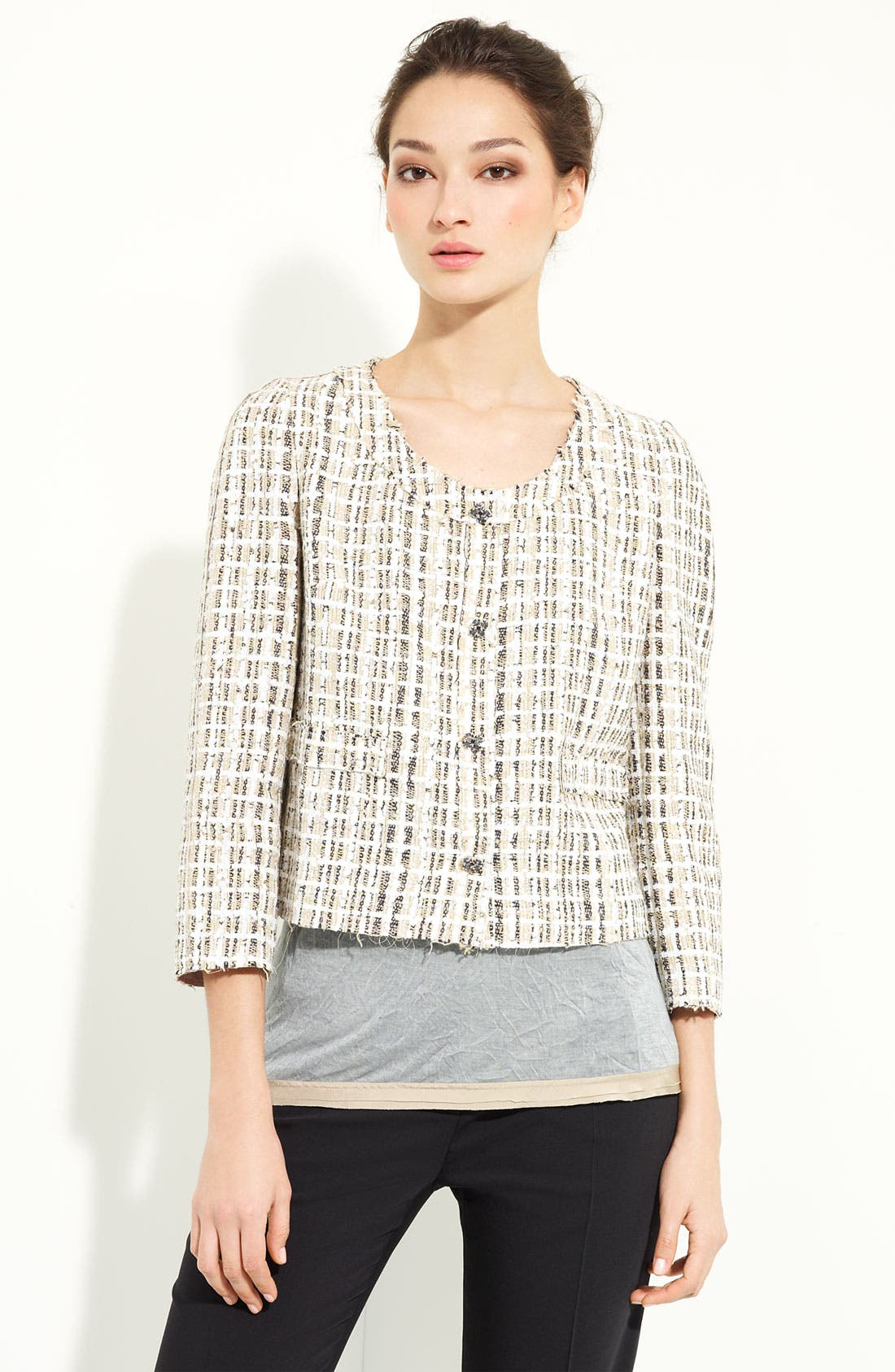 DOLCE&GABBANA,                             Crop Tweed Jacket,                             Main thumbnail 1, color,                             254