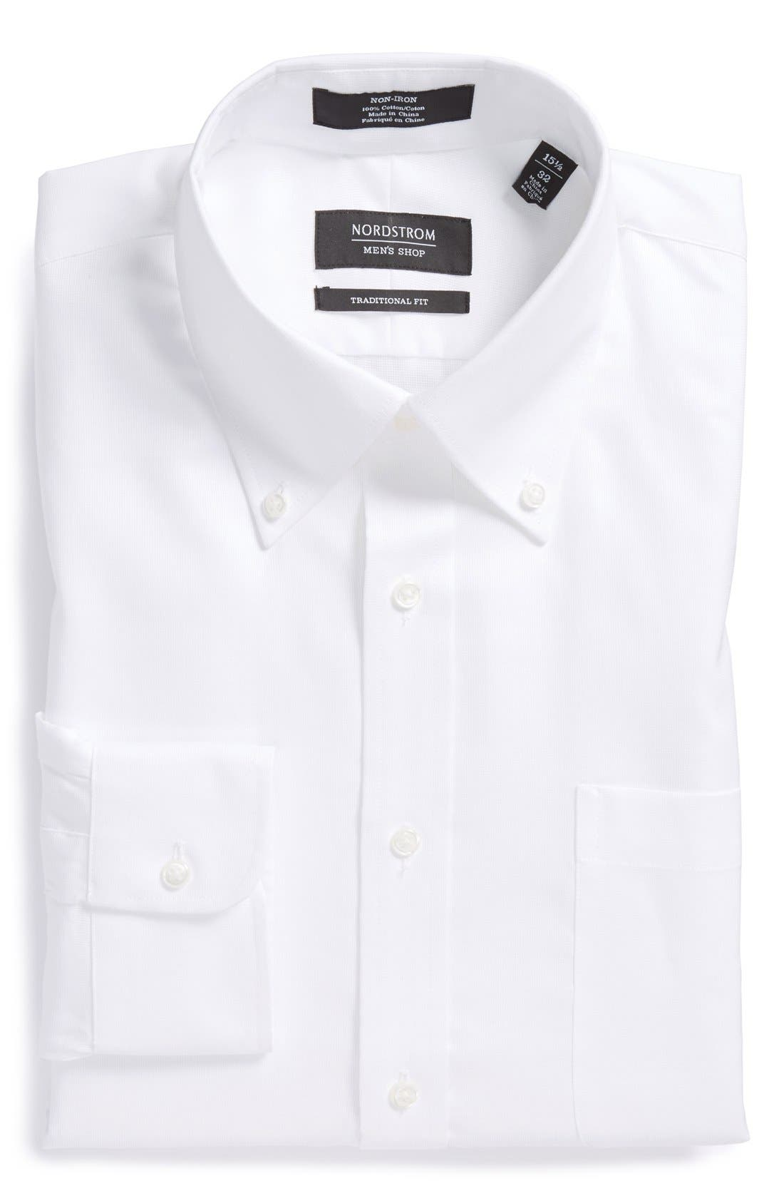 NORDSTROM MEN'S SHOP Nordstrom Traditional Fit Non-Iron Dress Shirt, Main, color, 100
