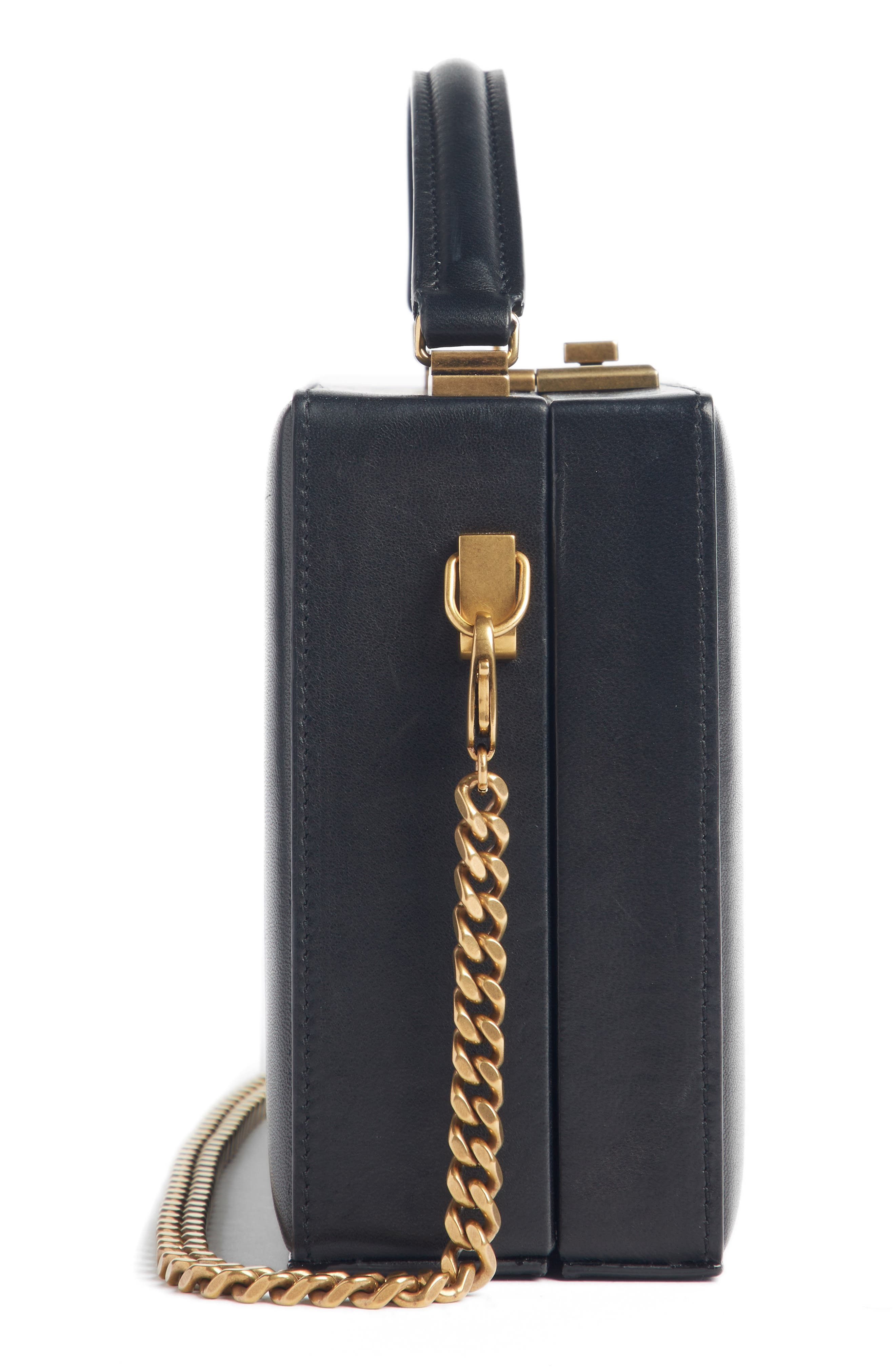 Nan Quilted Leather Frame Bag,                             Alternate thumbnail 3, color,                             NOIR