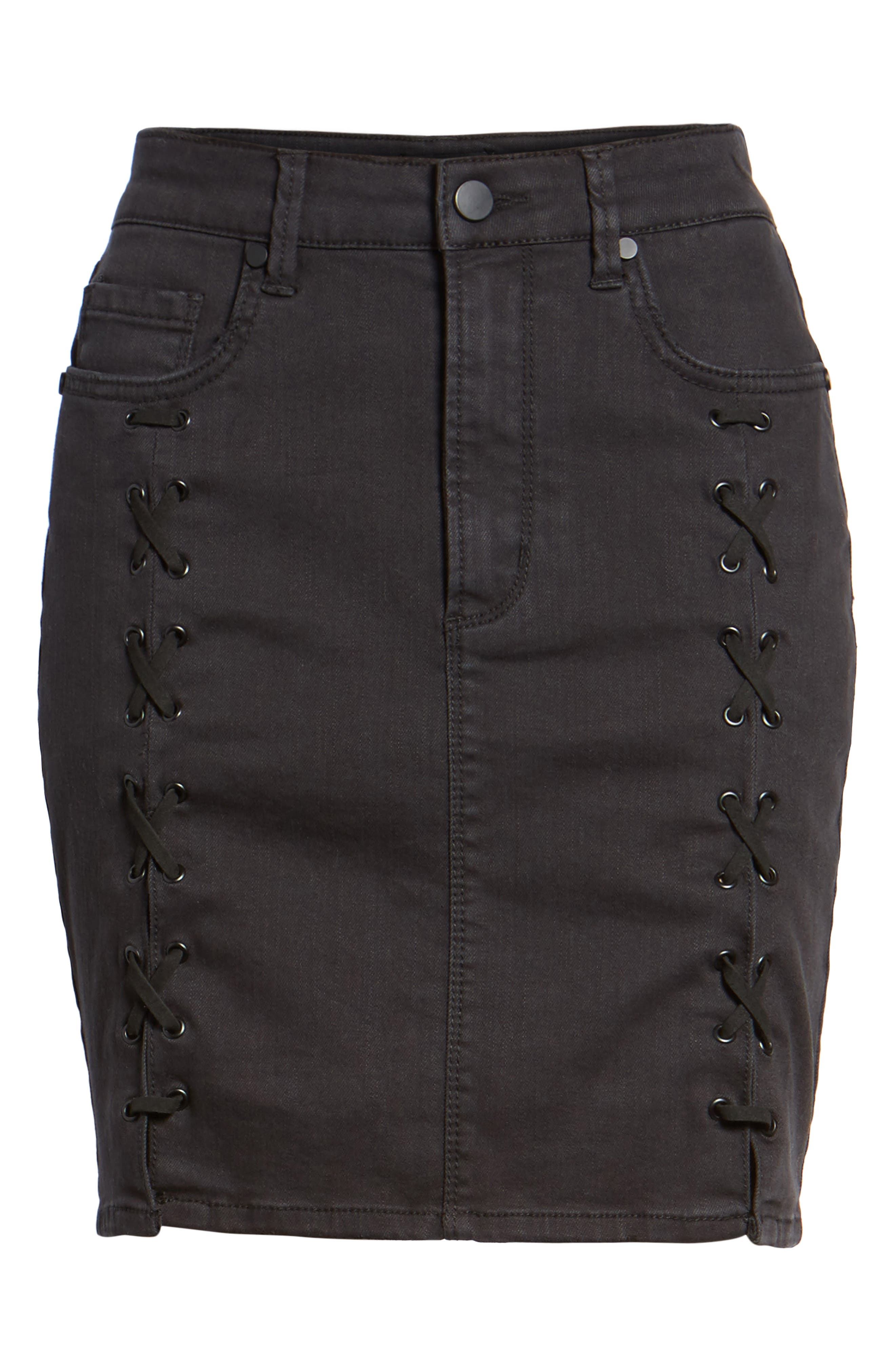 Lace-Up Denim Skirt,                             Alternate thumbnail 6, color,                             001