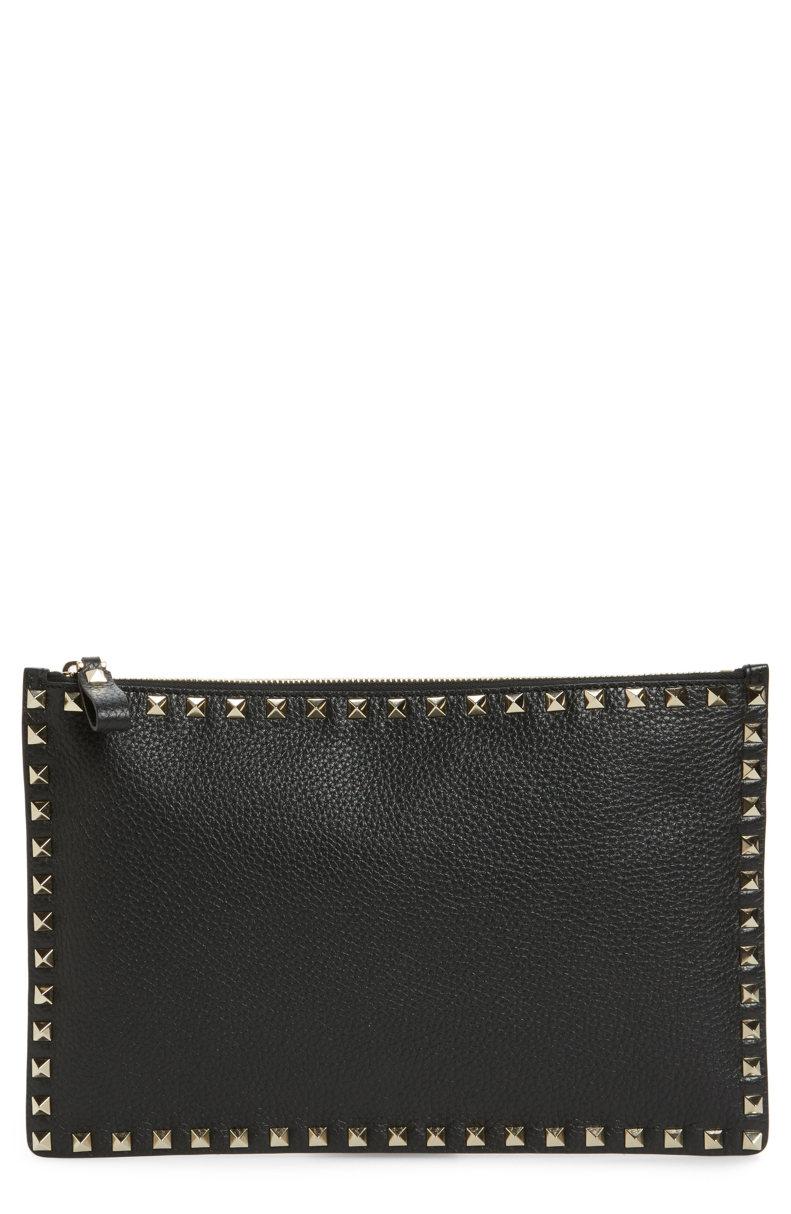Large Rockstud Flat Leather Zip Pouch,                             Main thumbnail 1, color,