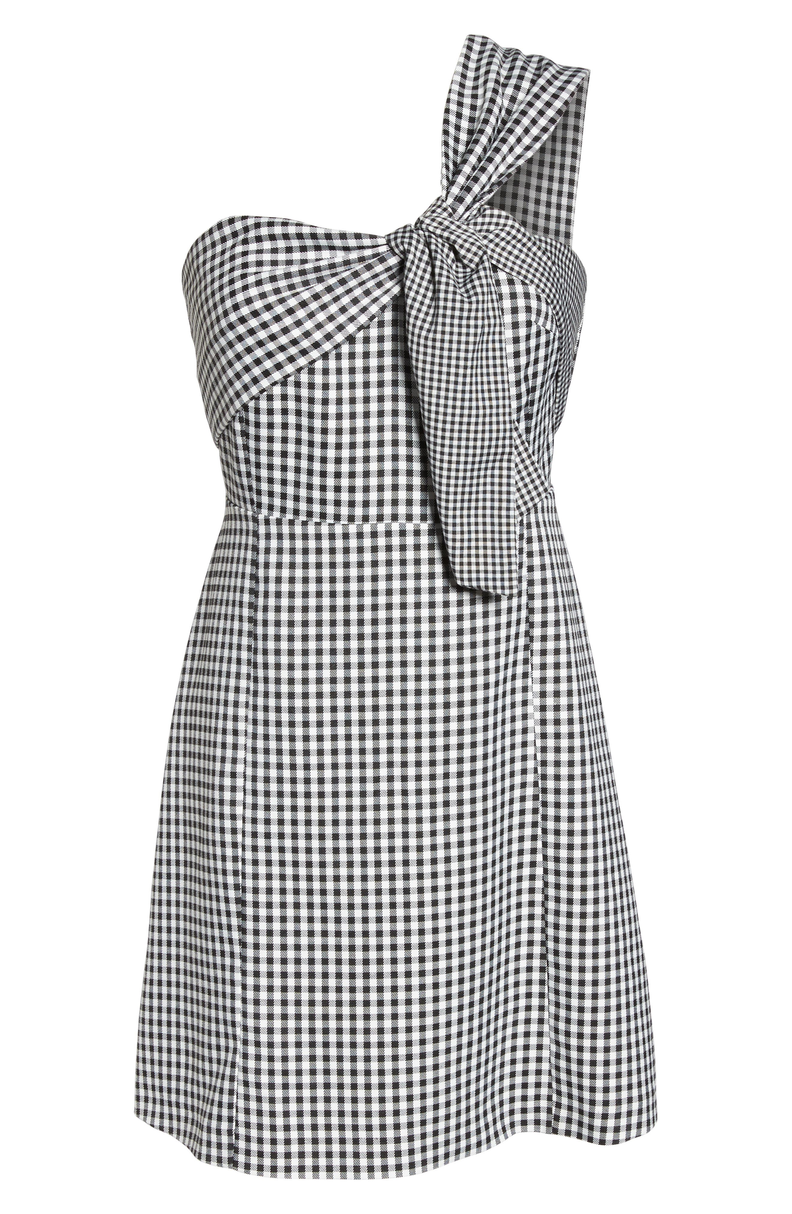 One-Shoulder Gingham Dress,                             Alternate thumbnail 7, color,                             001