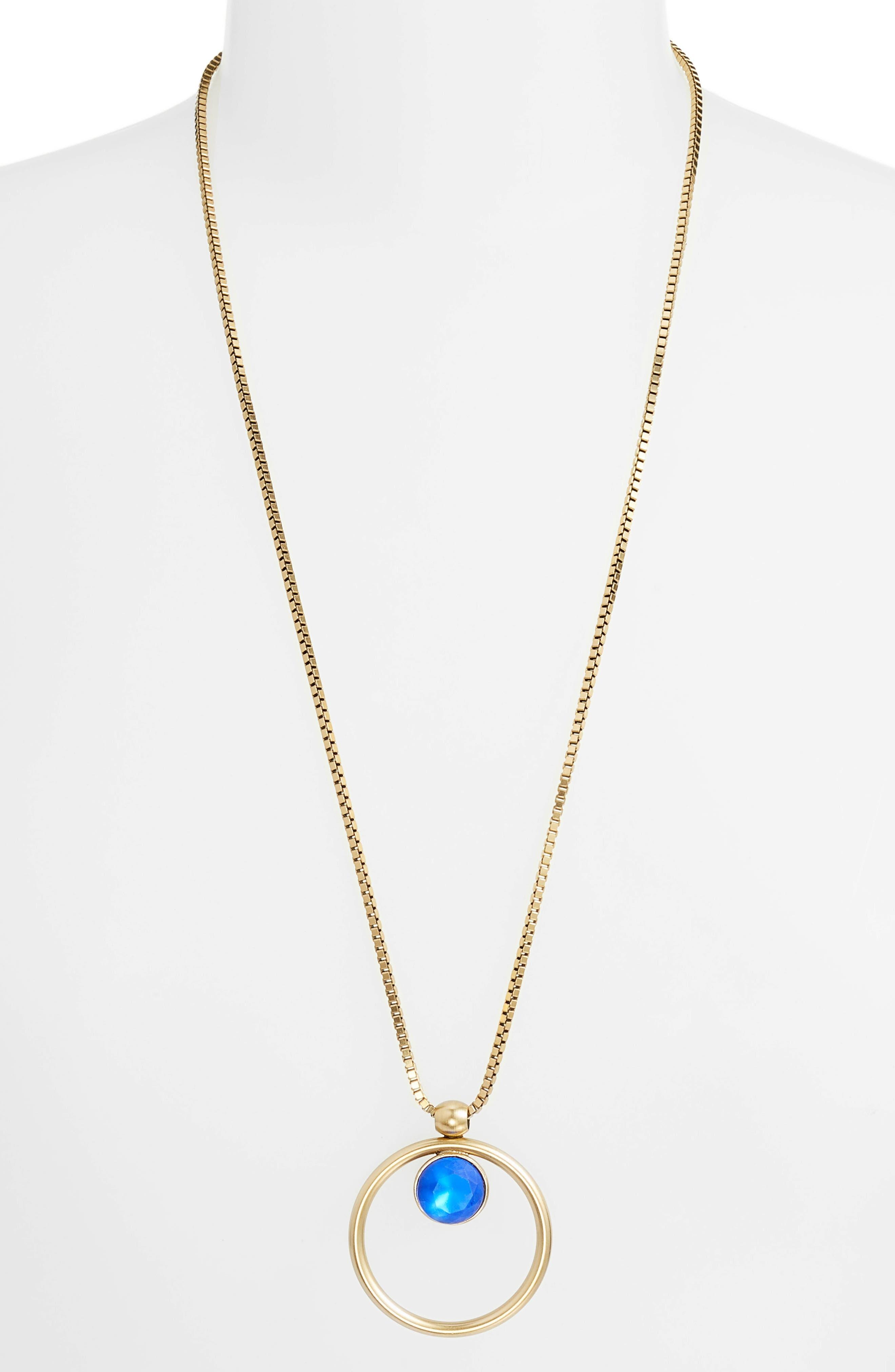 Cecilia Box Chain Necklace,                         Main,                         color, SAPPHIRE