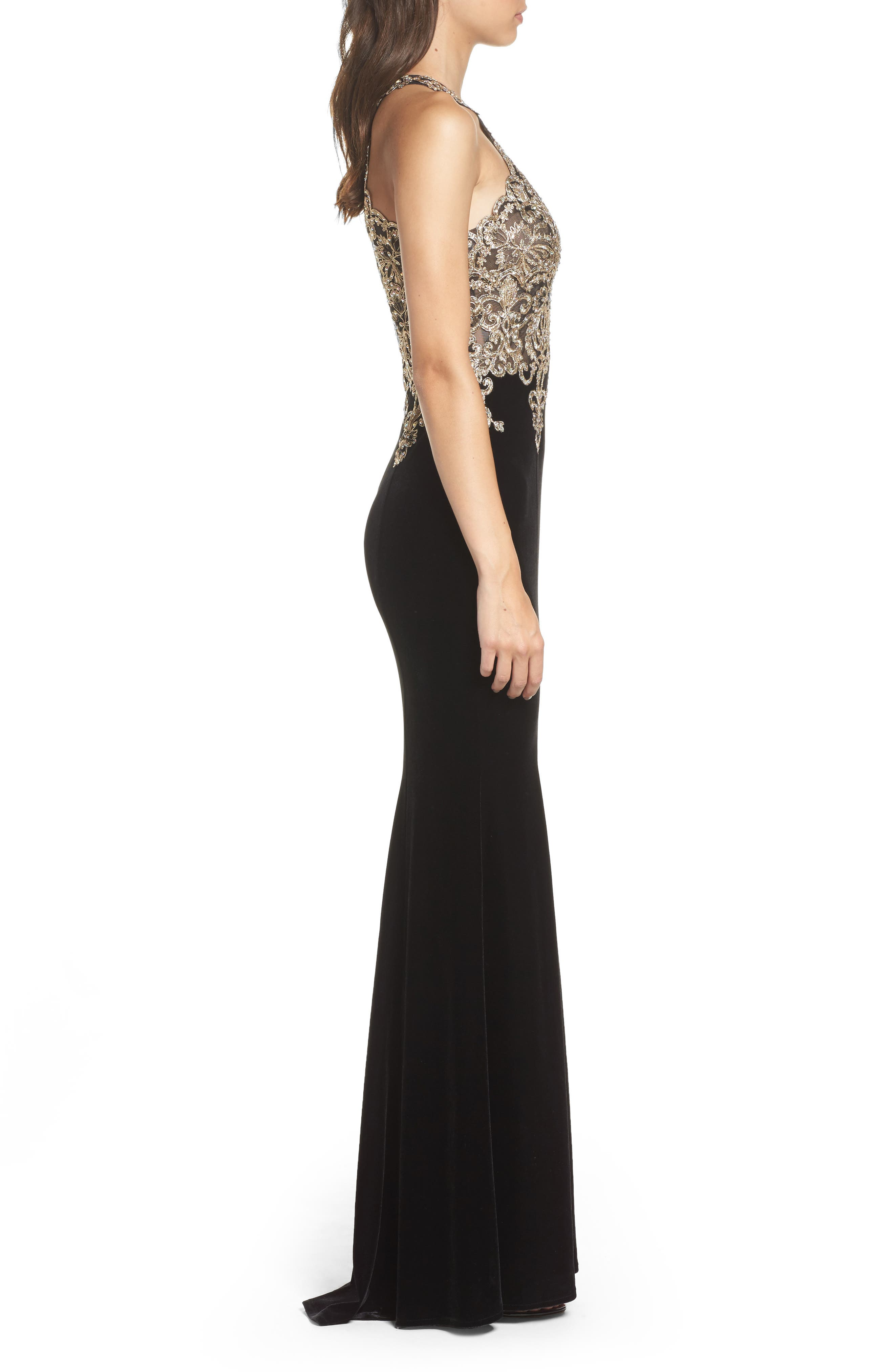 Crystal Embroidered Velvet Gown,                             Alternate thumbnail 3, color,