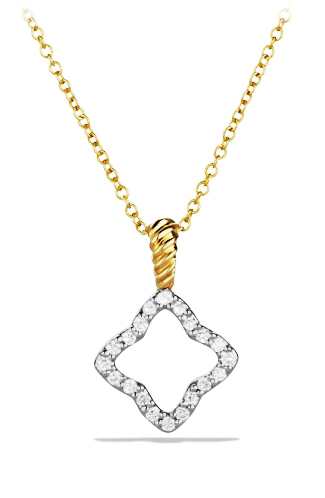 'Cable Collectibles' Quatrefoil Pendant with Diamonds in Gold on Chain,                             Main thumbnail 1, color,                             DIAMOND