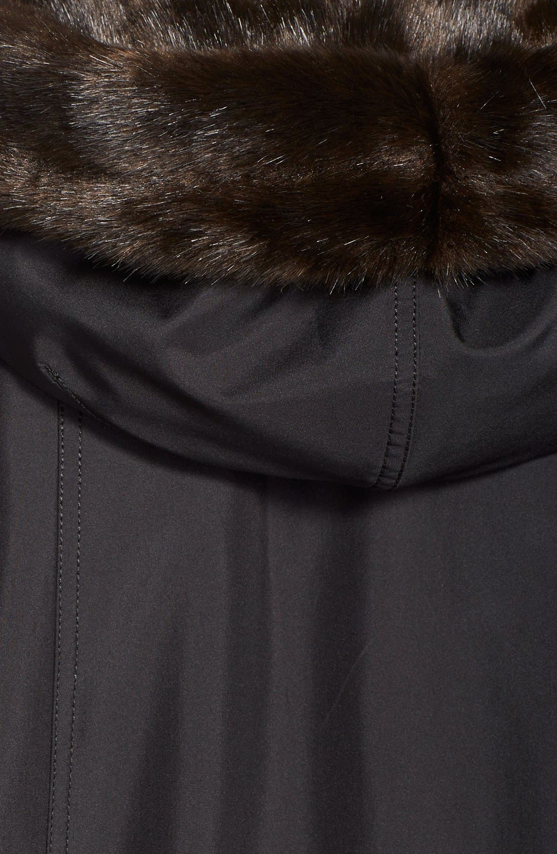 A-Line Storm Coat with FauxFur Lining & Trim,                             Alternate thumbnail 2, color,                             001