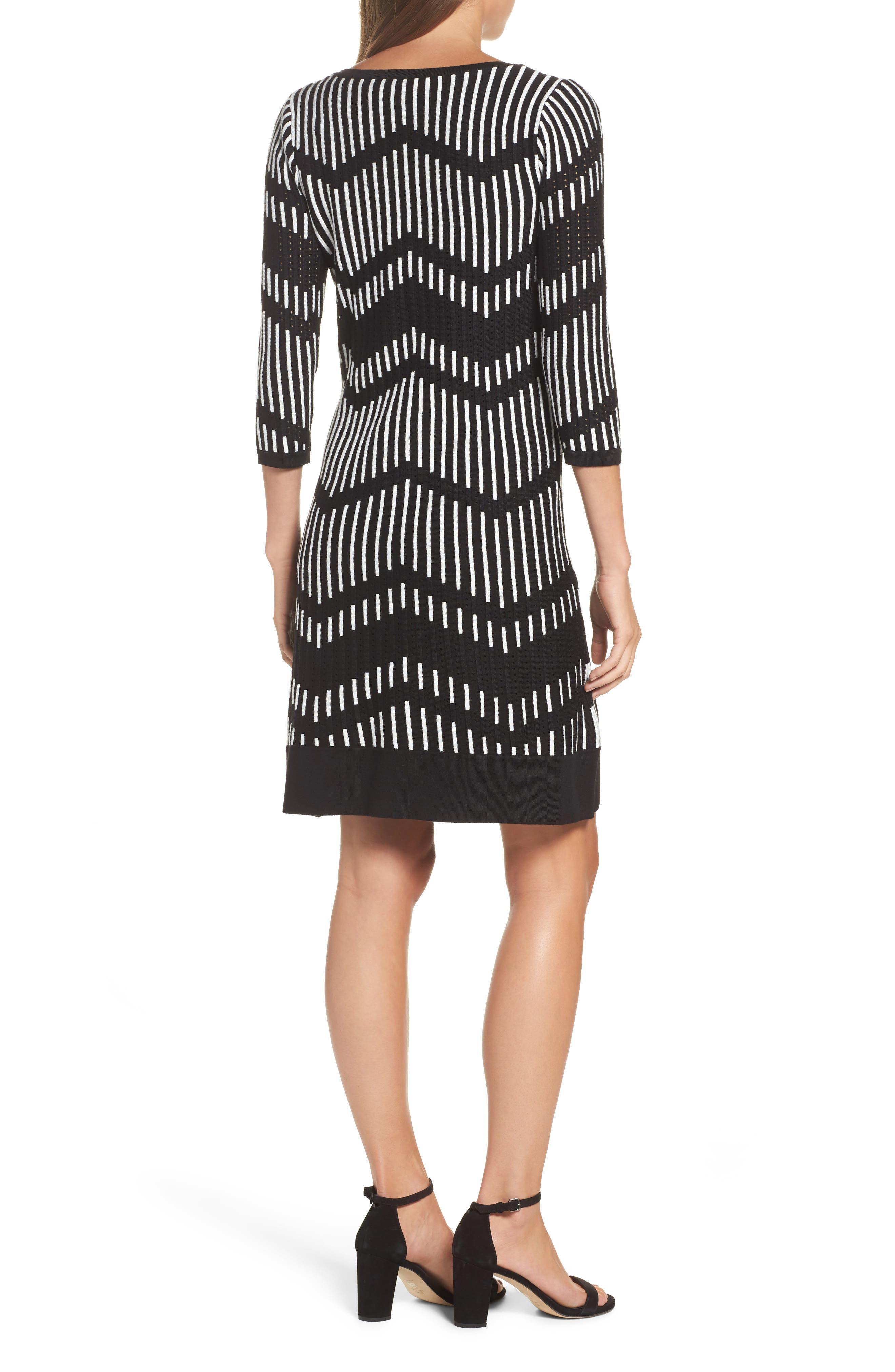 Zig Zag Sweater Dress,                             Alternate thumbnail 2, color,                             001
