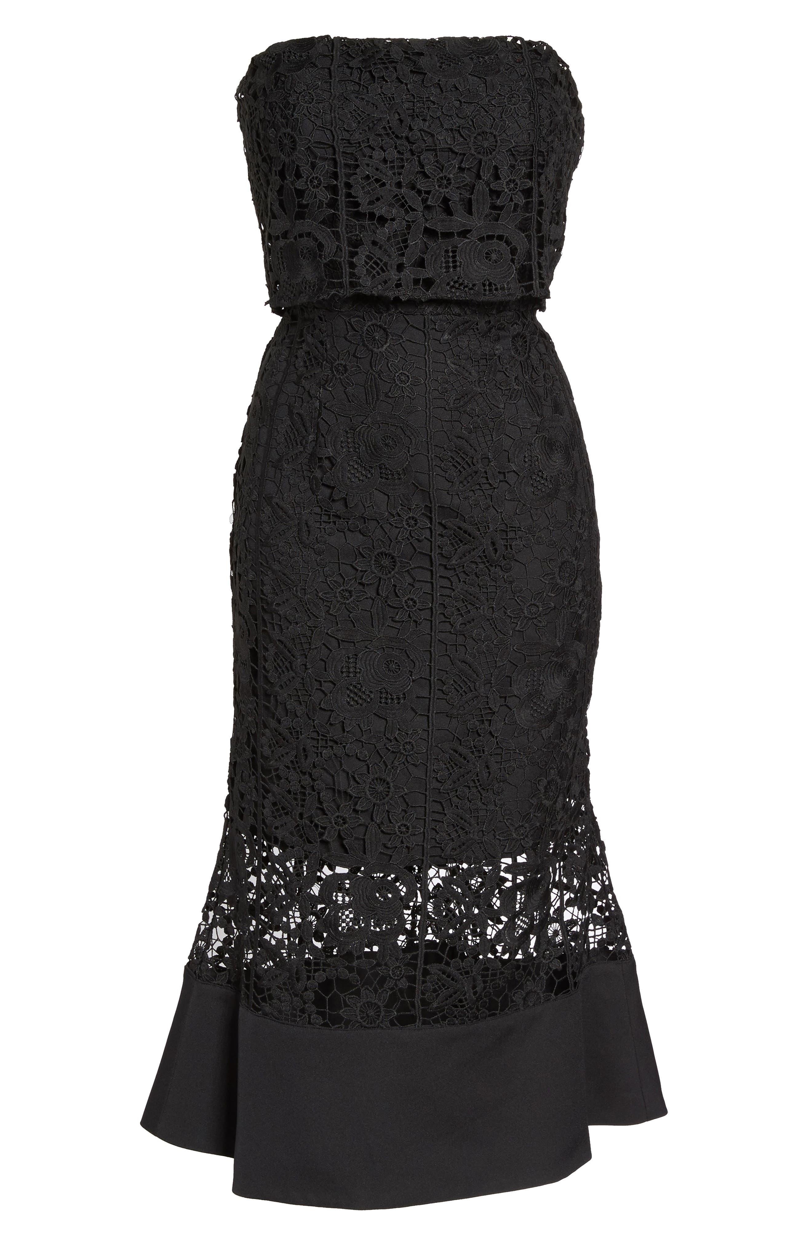 Xenia Strapless Lace Midi Dress,                             Alternate thumbnail 6, color,                             001