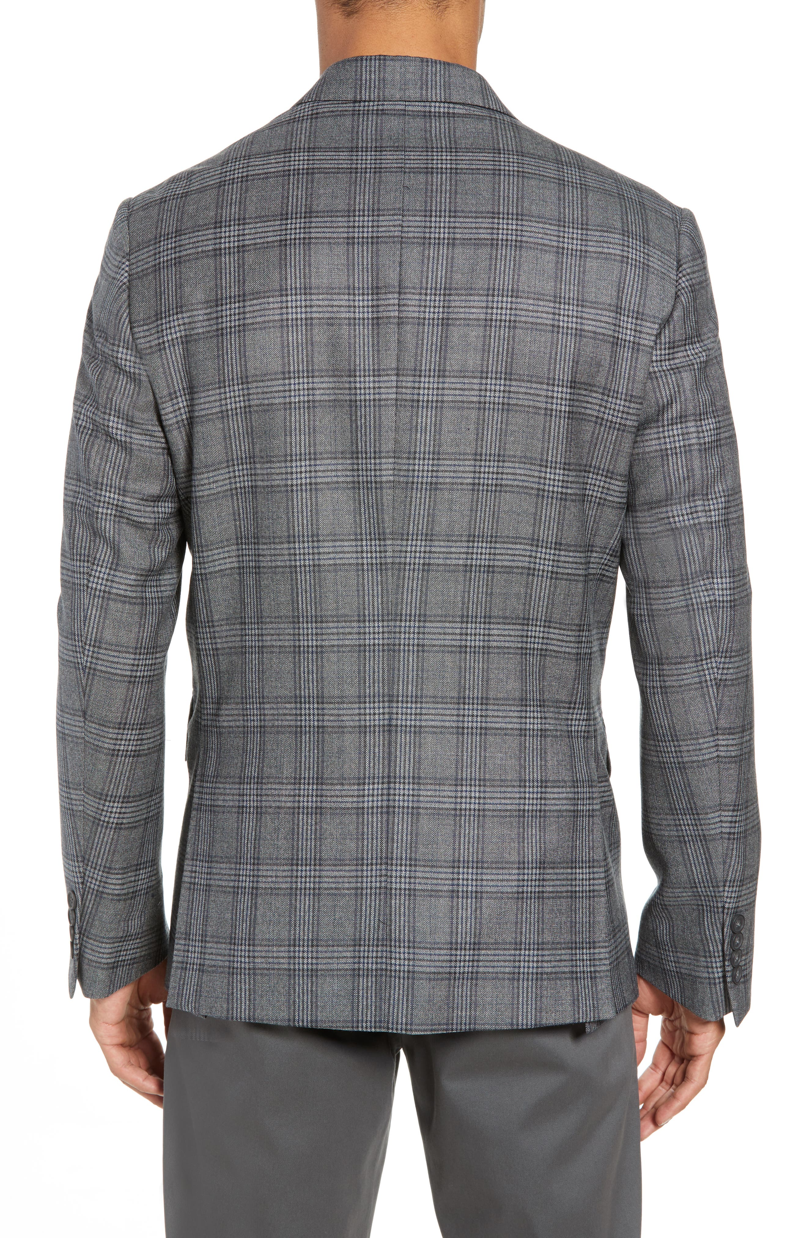 Traditional Fit Plaid Wool Sport Coat,                             Alternate thumbnail 2, color,                             GREY