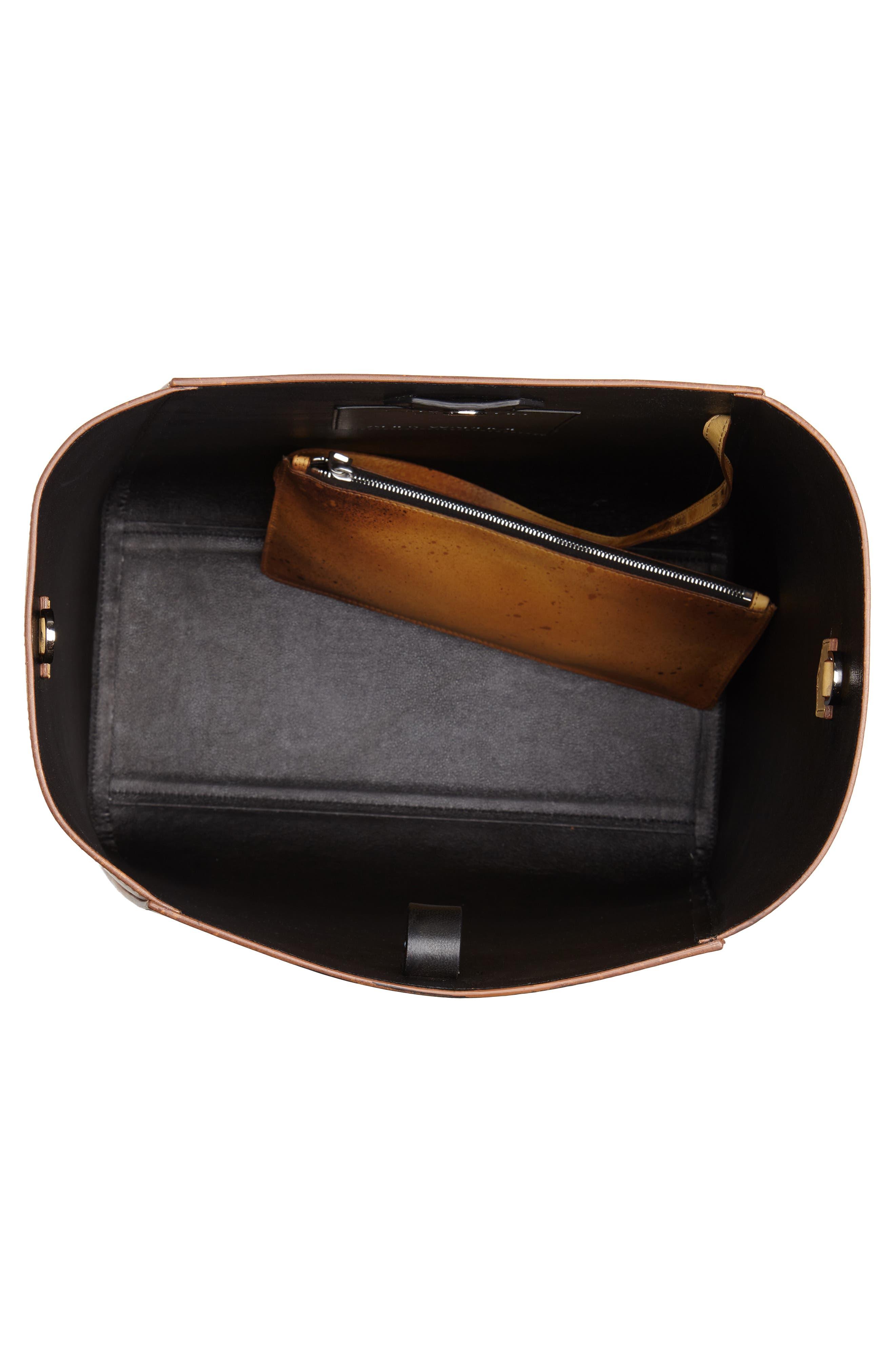 x Andy Warhol Foundation Sandra Brant Calfskin Leather Bucket Bag,                             Alternate thumbnail 4, color,                             AMBER/ BLACK