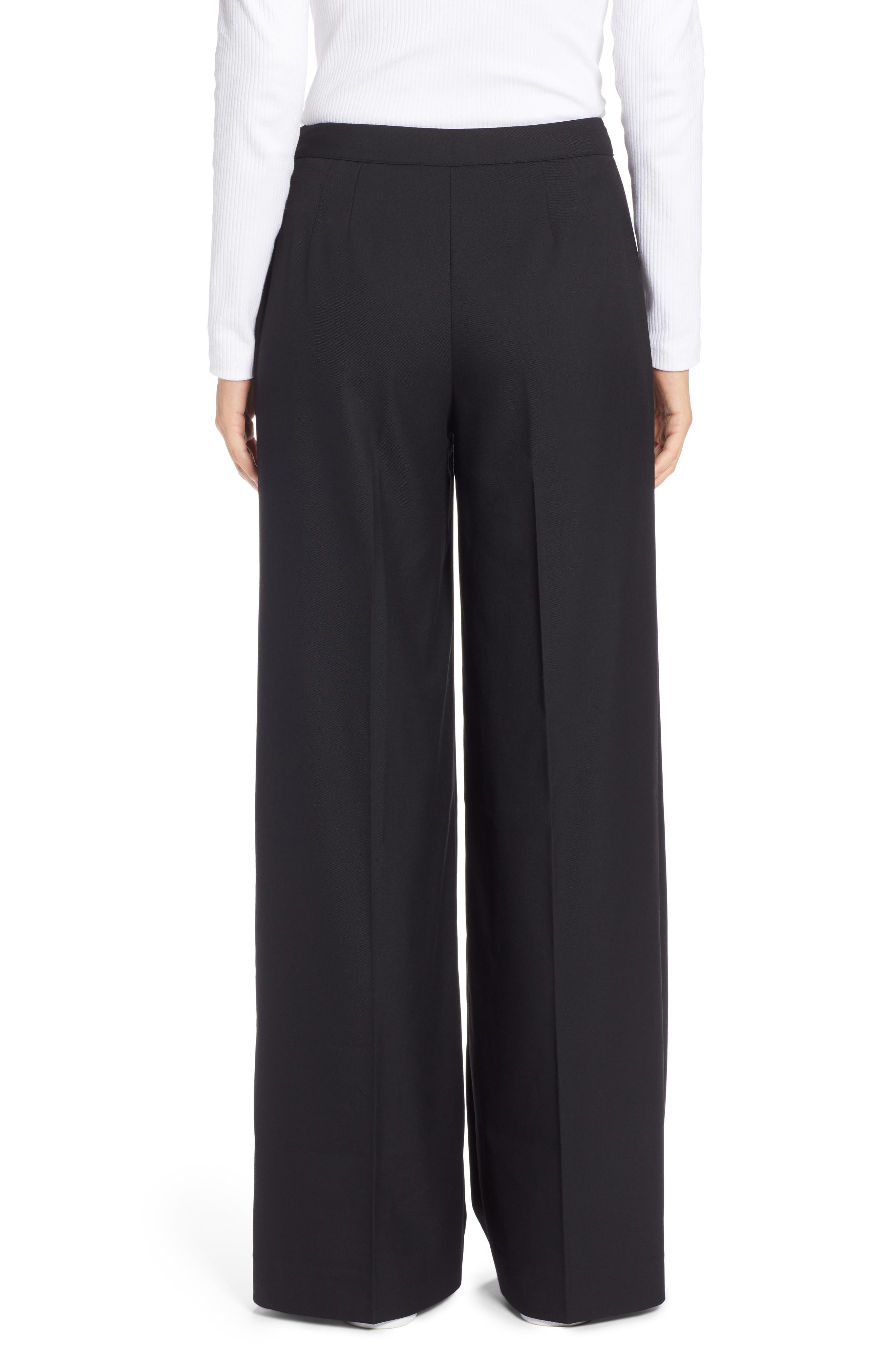 Button Detail Wide Leg Sailor Pants,                             Alternate thumbnail 2, color,                             001