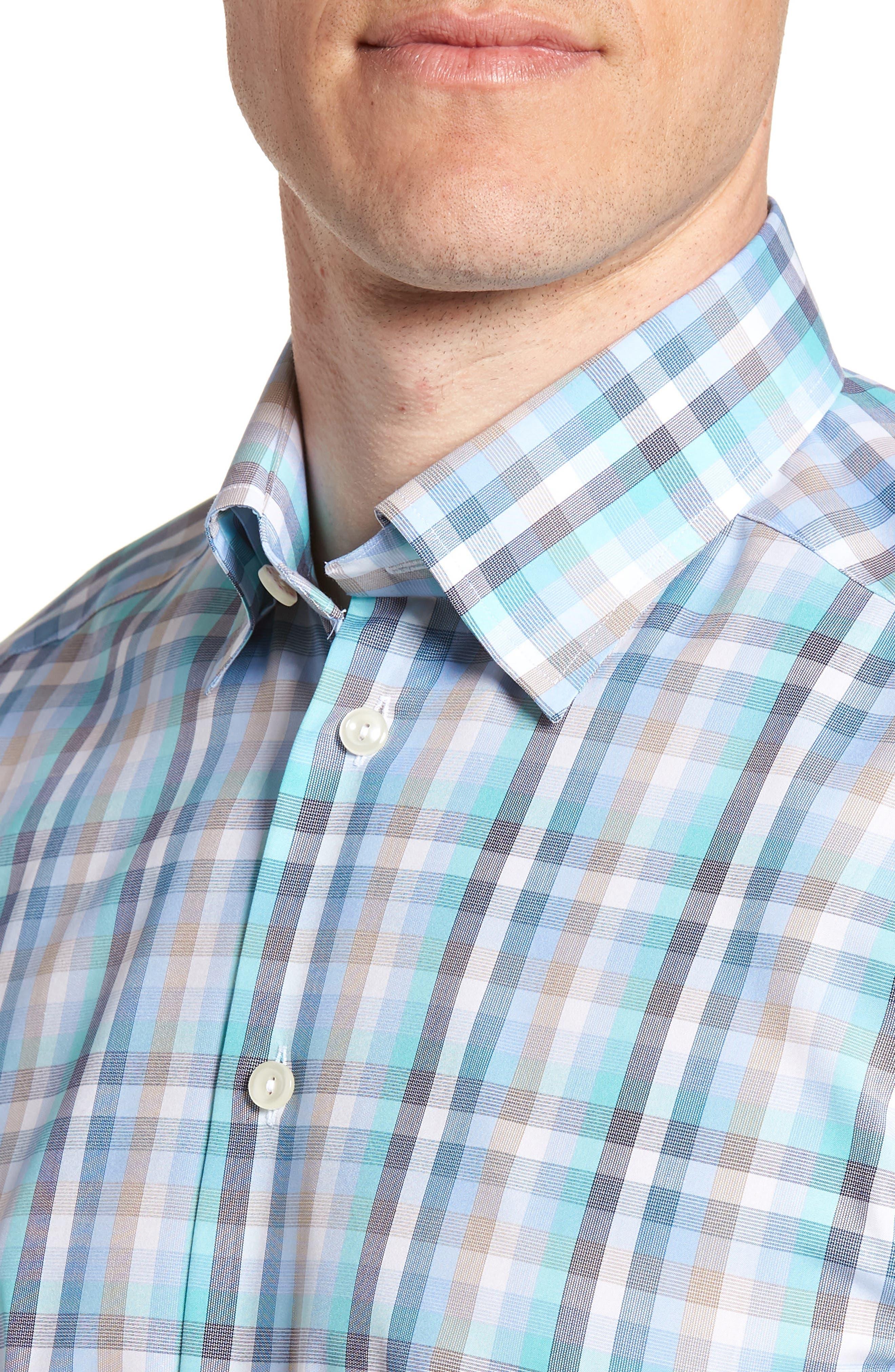 Contemporary Fit Plaid Dress Shirt,                             Alternate thumbnail 2, color,                             BLUE
