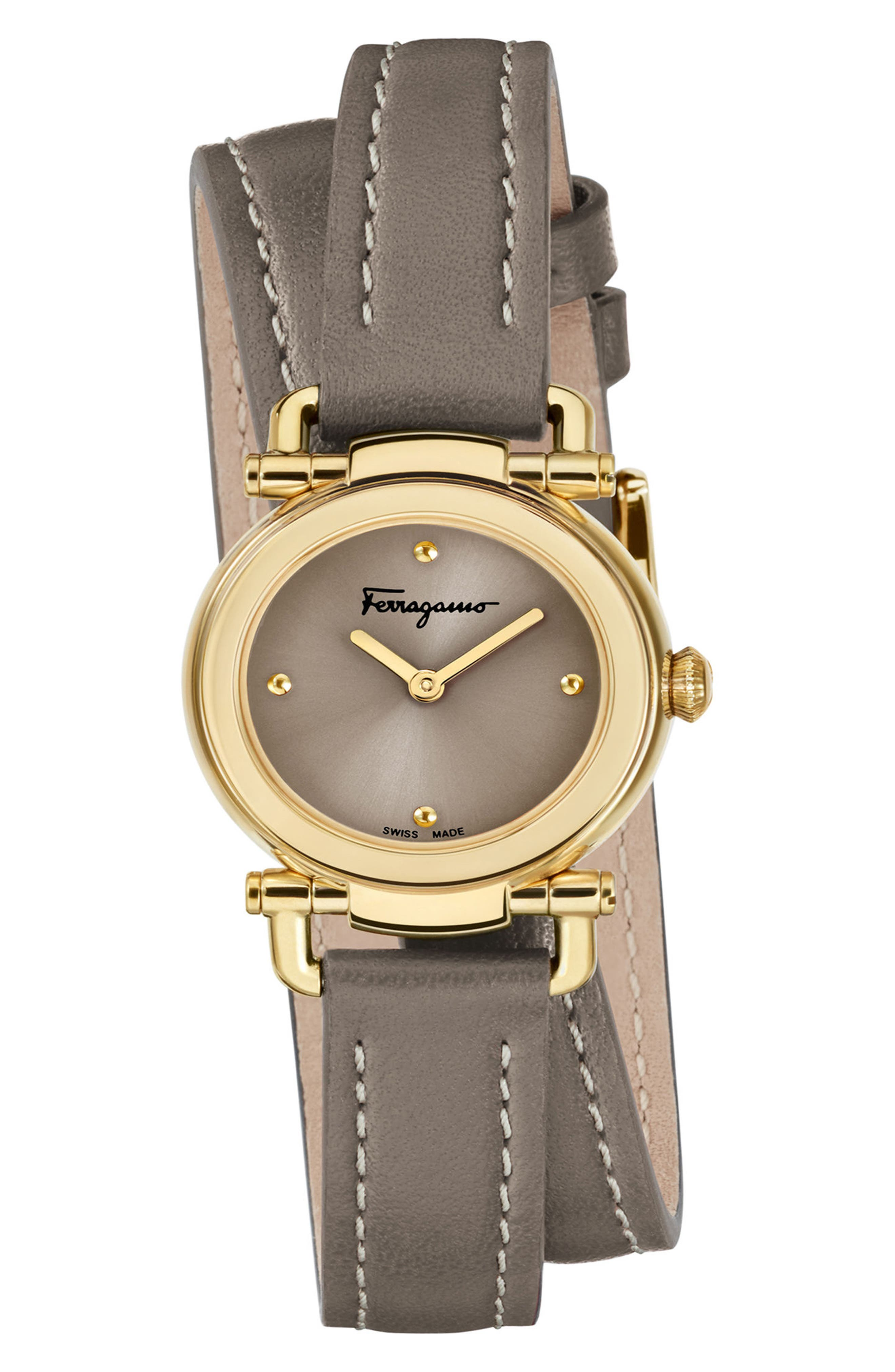 Gancino Leather Strap Watch, 26mm,                         Main,                         color, BROWN/ GOLD
