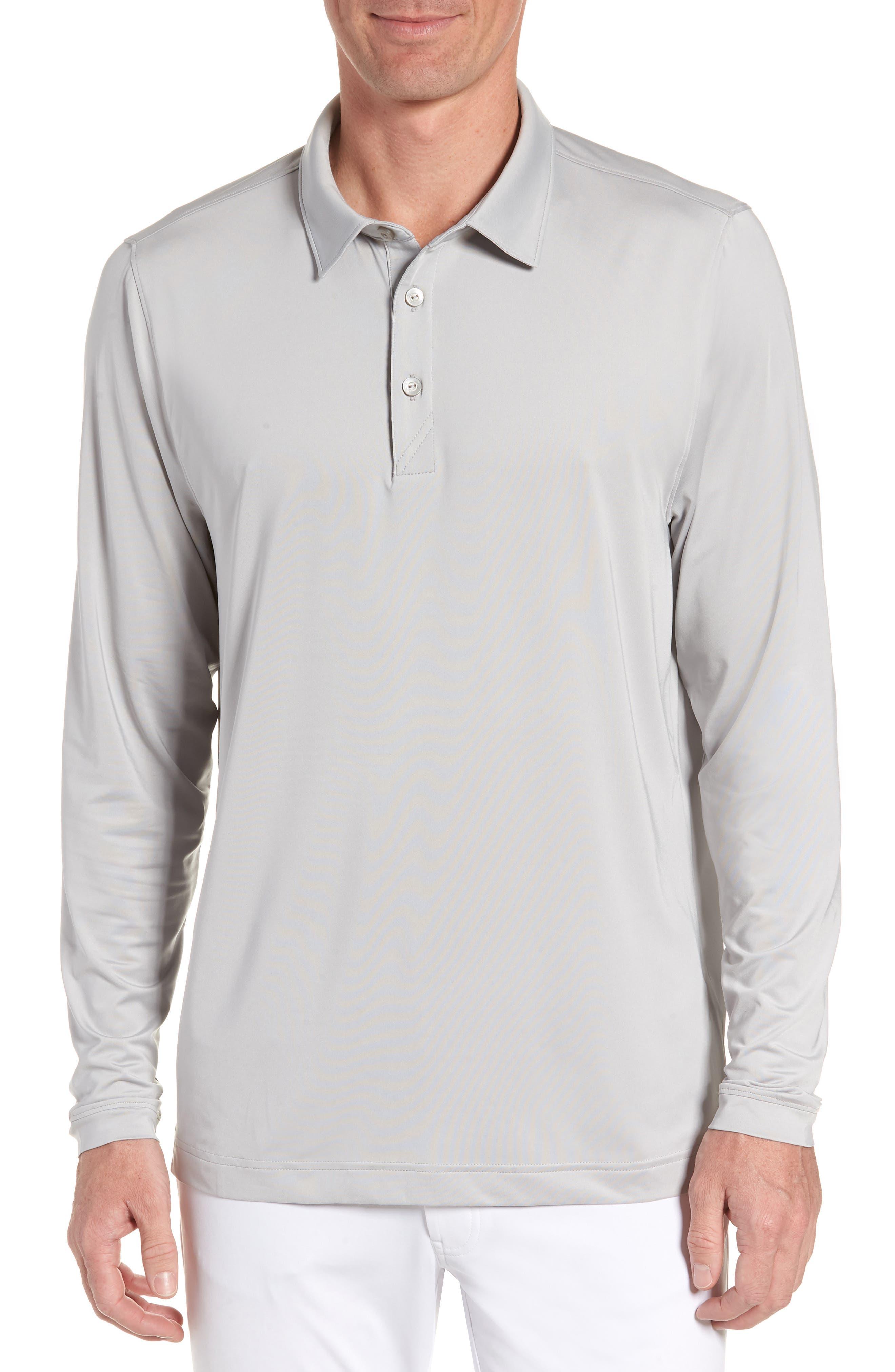 Cutter & Buck Belmont Long Sleeve Solid Polo, Grey