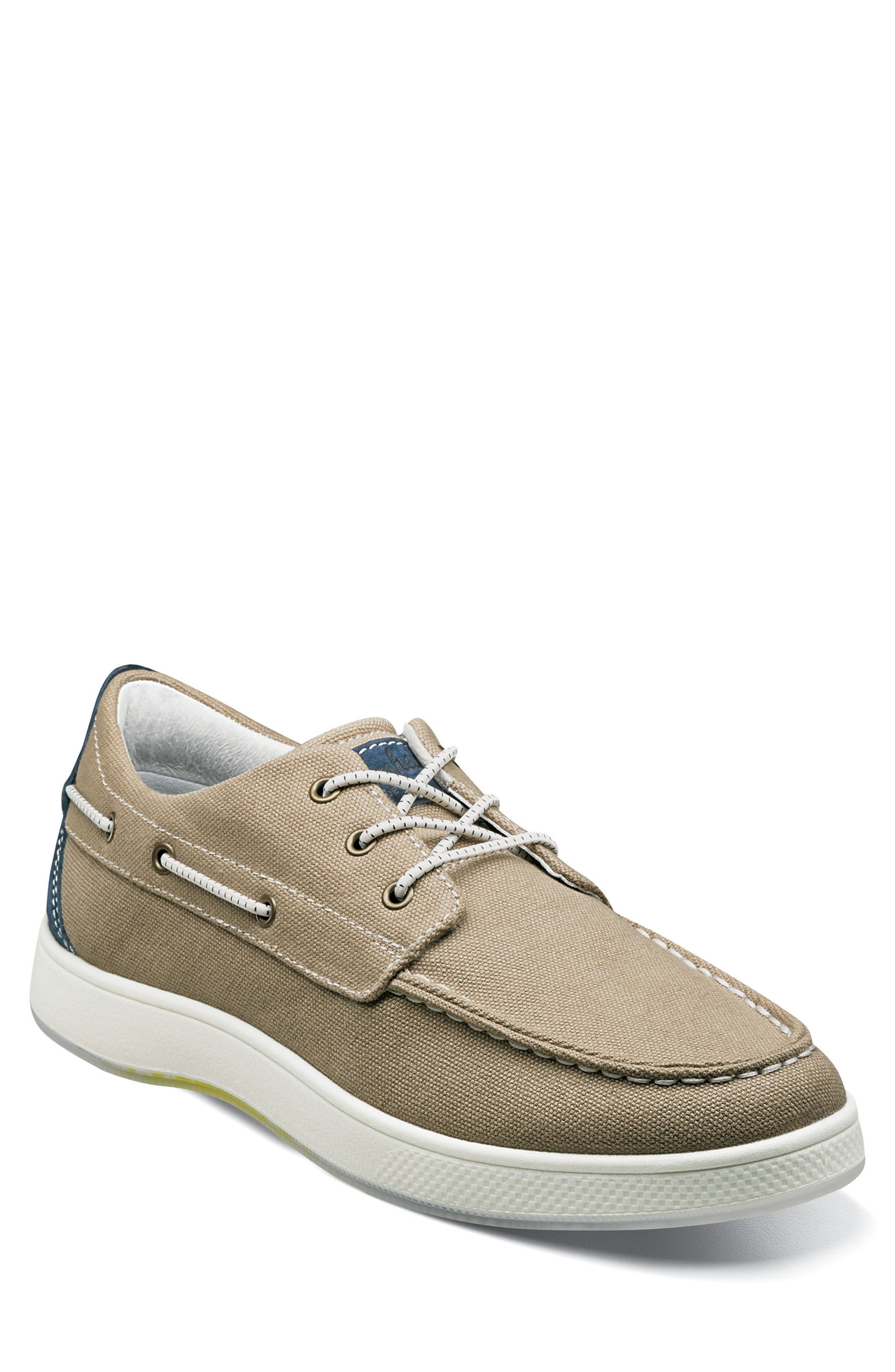 FLORSHEIM Edge Boat Shoe, Main, color, KHAKI CANVAS