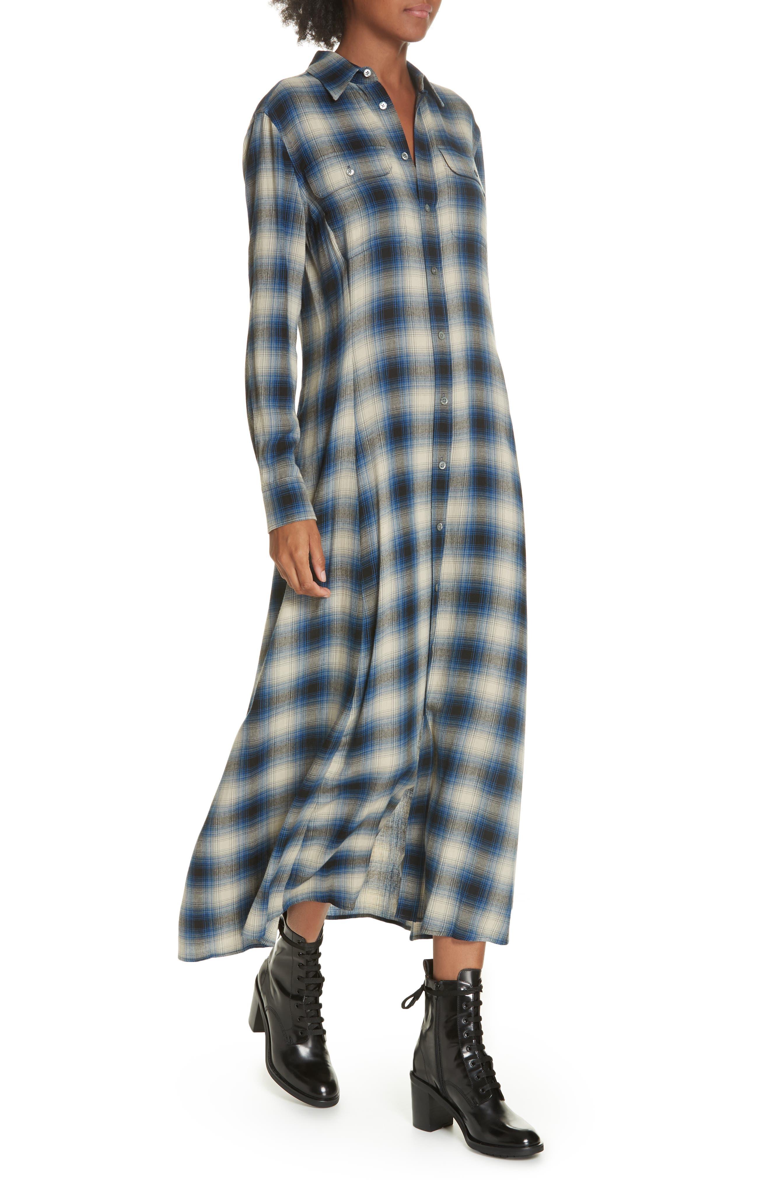 Plaid Midi Shirtdress,                             Alternate thumbnail 4, color,                             400