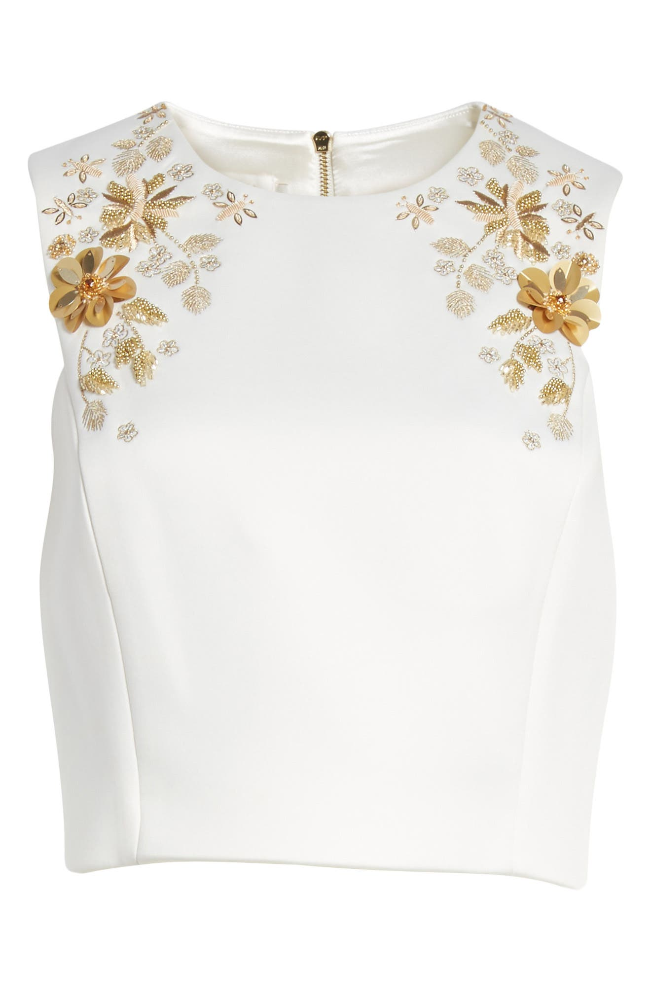 Embellished Bee Sleeveless Crop Top,                             Alternate thumbnail 6, color,                             115