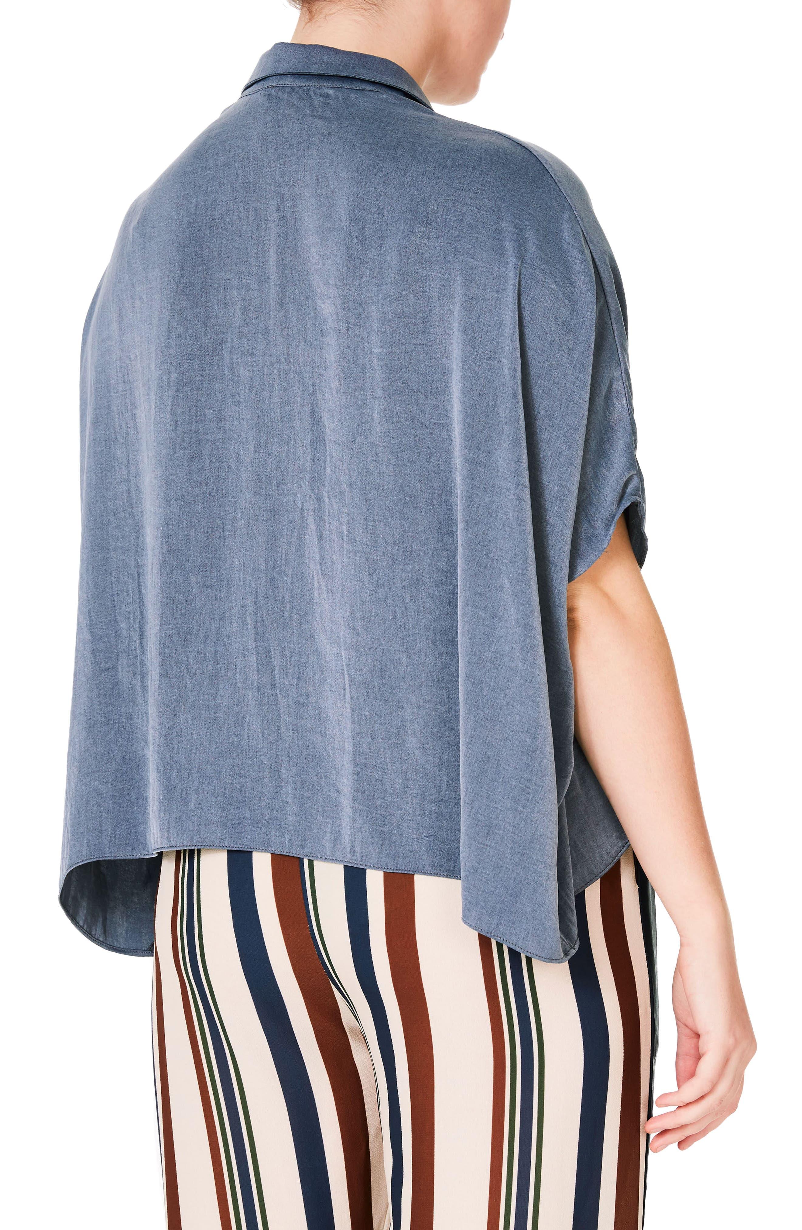 Studded Crop Chambray Shirt,                             Alternate thumbnail 2, color,