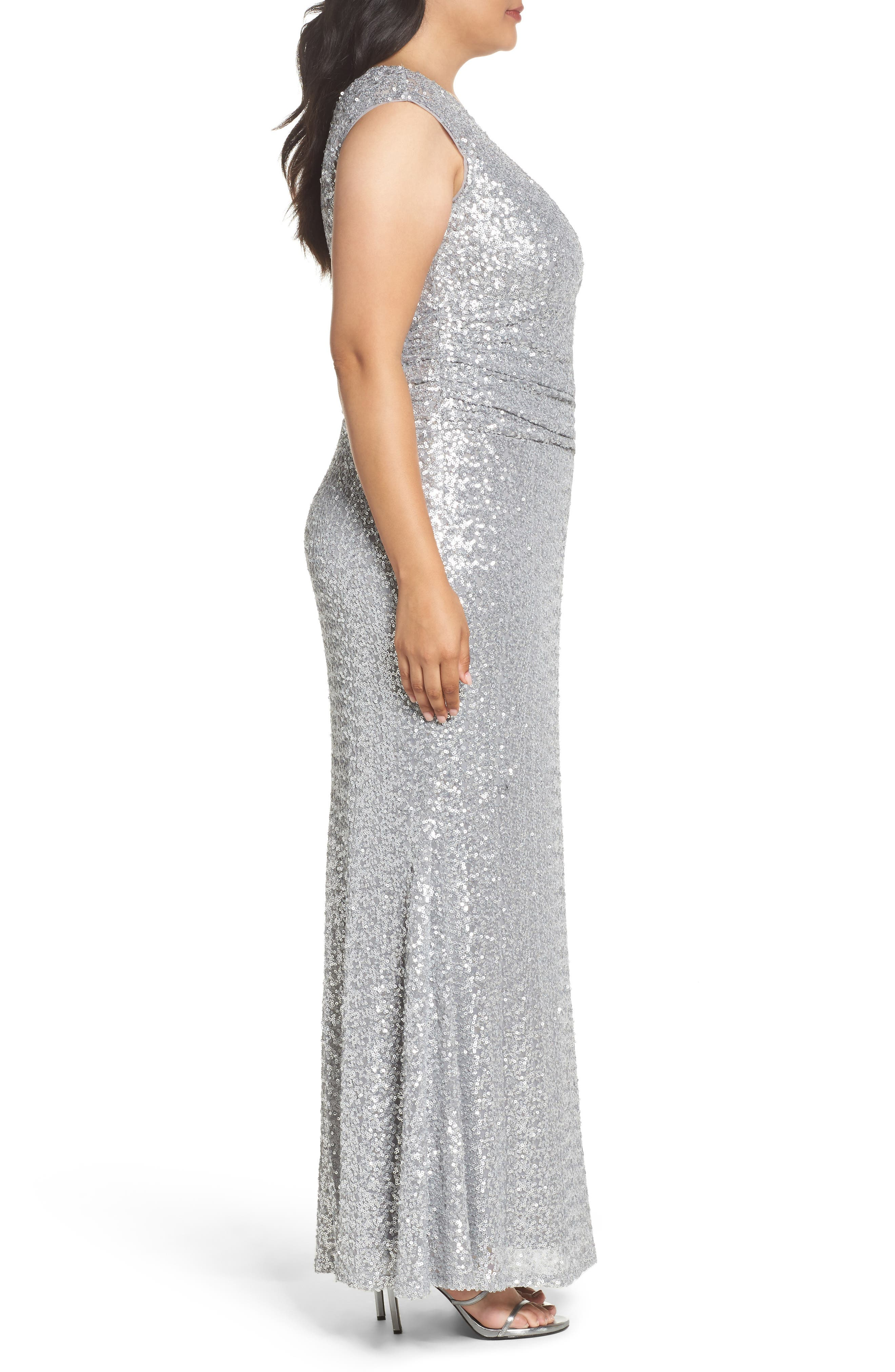 Cutout Sequin Lace Gown,                             Alternate thumbnail 3, color,                             040