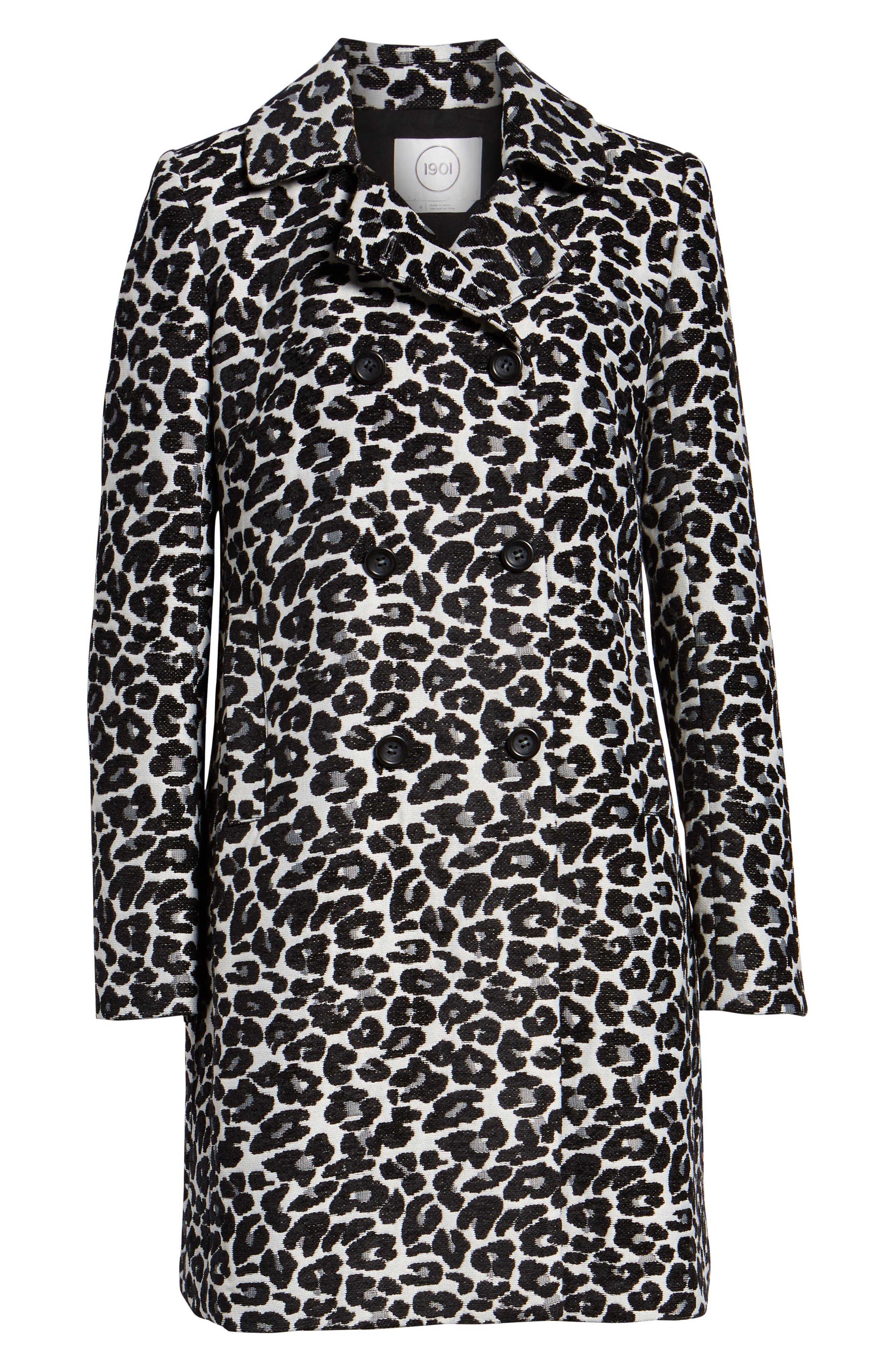 Leopard Coat,                             Alternate thumbnail 6, color,                             BLACK- WHITE LEOPARD