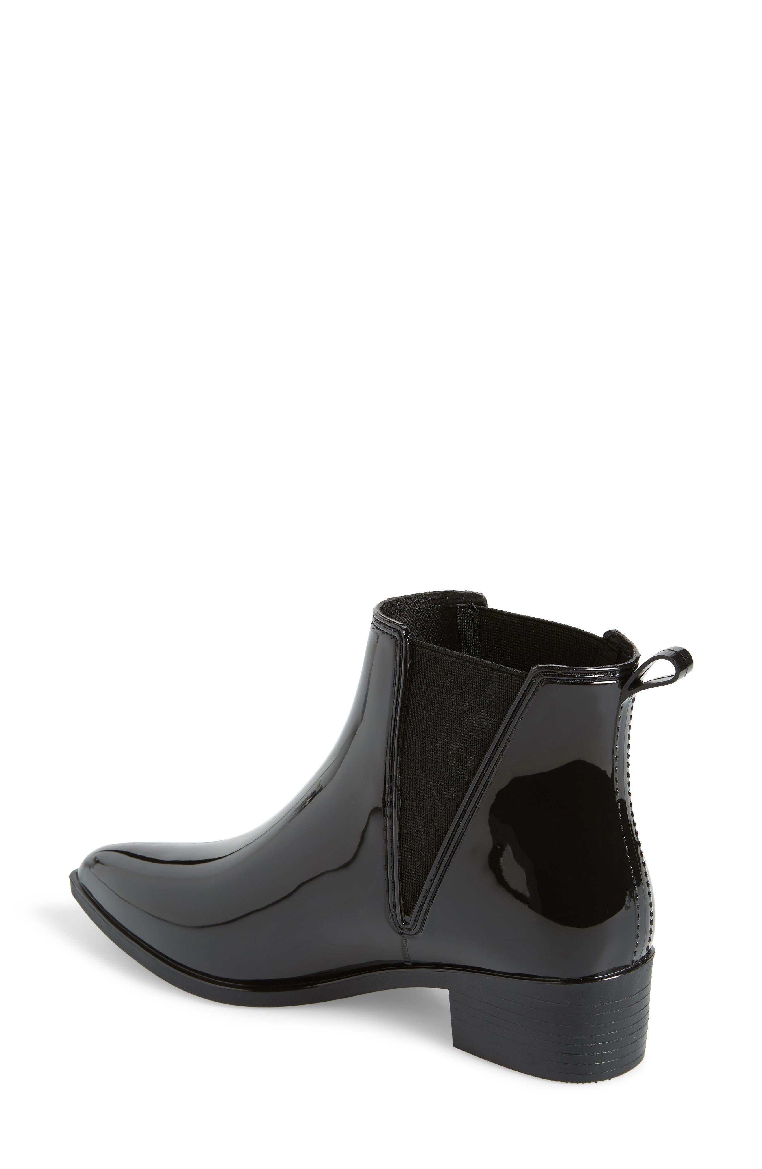 Mist Chelsea Waterproof Rain Boot,                             Alternate thumbnail 2, color,                             BLACK SHINY