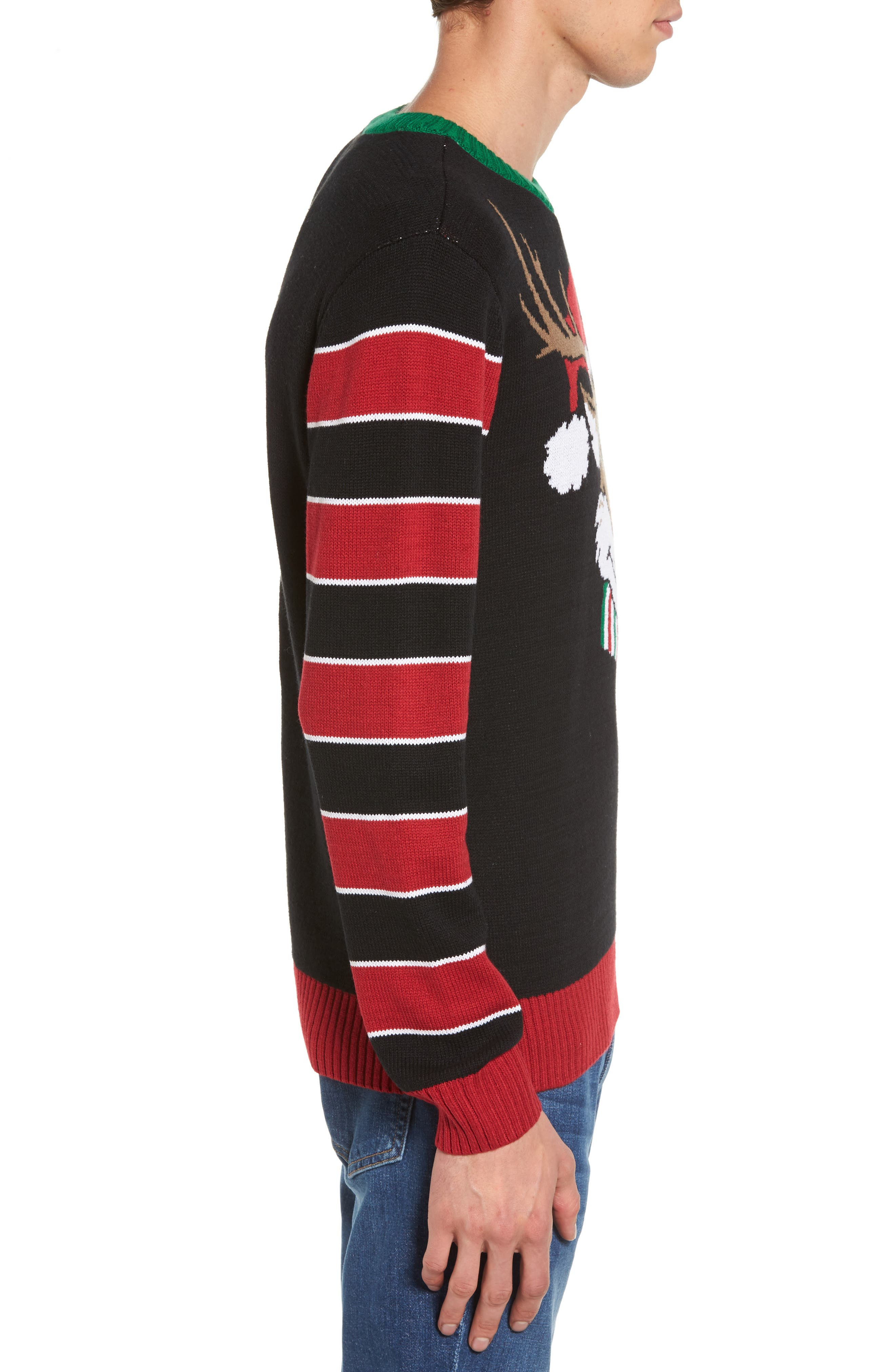 Reindeer Sweater,                             Alternate thumbnail 3, color,                             001