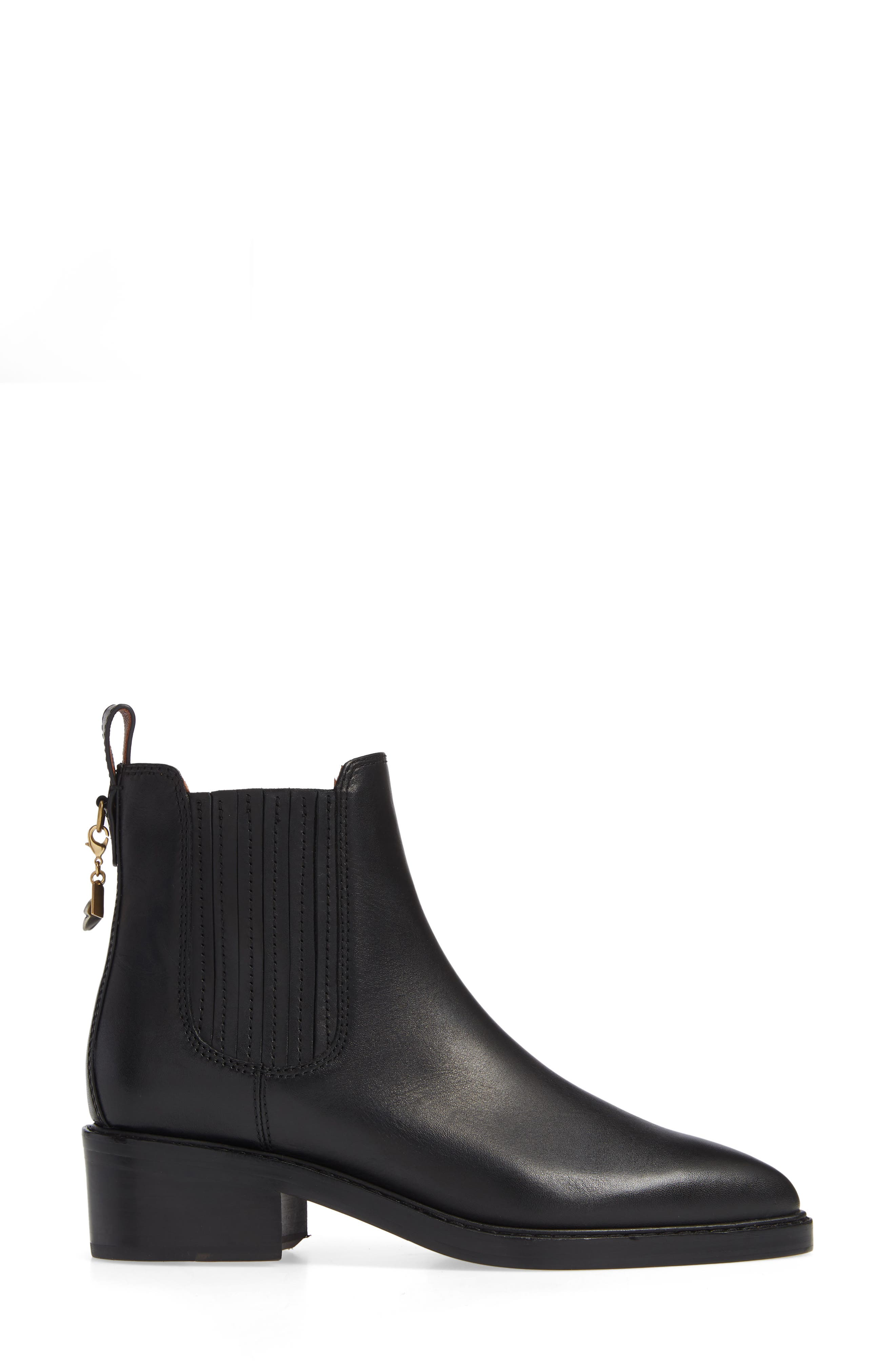 Bowery Chelsea Bootie,                             Alternate thumbnail 3, color,                             BLACK LEATHER