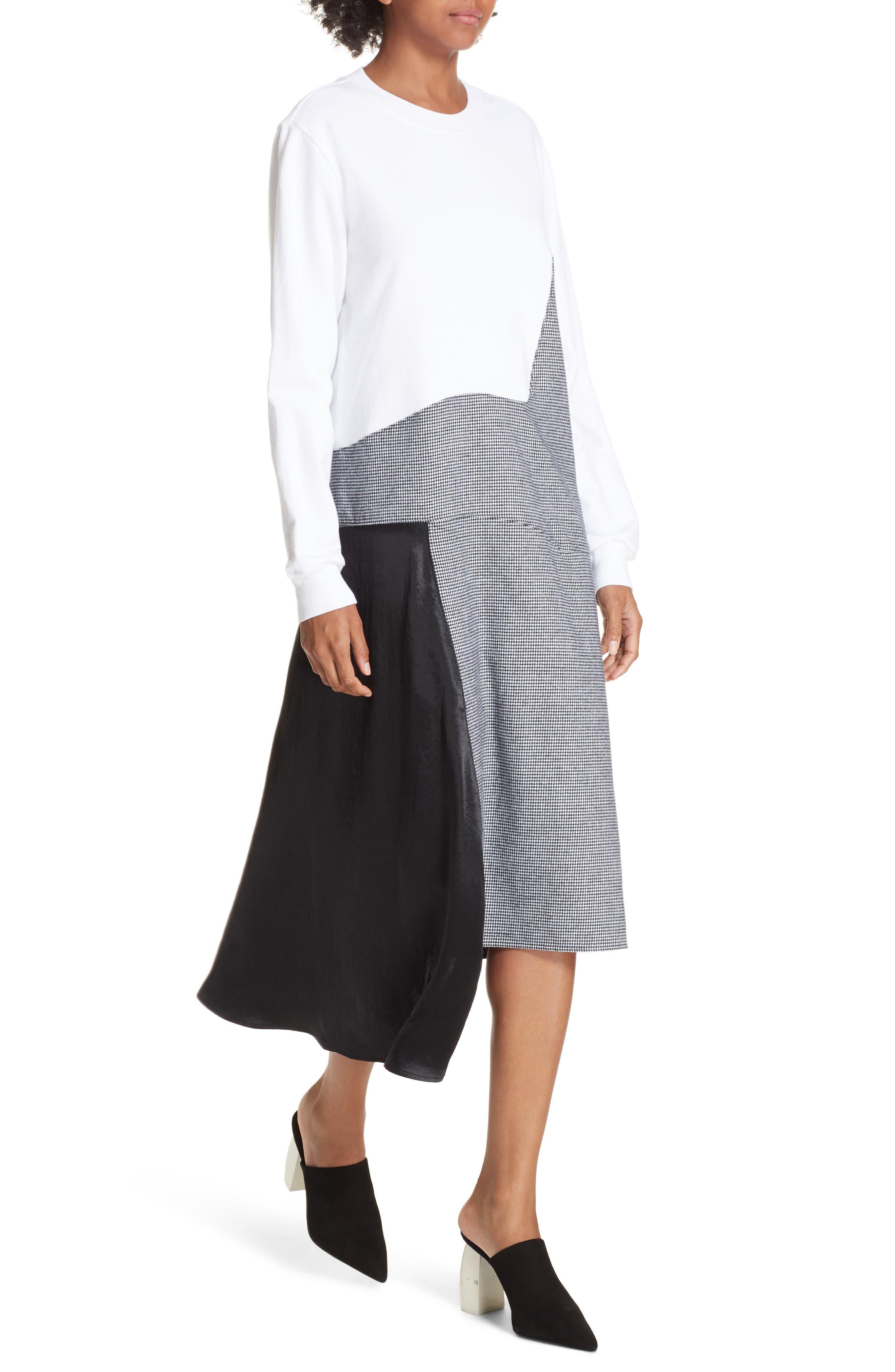 Colorblock Asymmetric Dress,                             Alternate thumbnail 4, color,                             WHITE/ BLACK