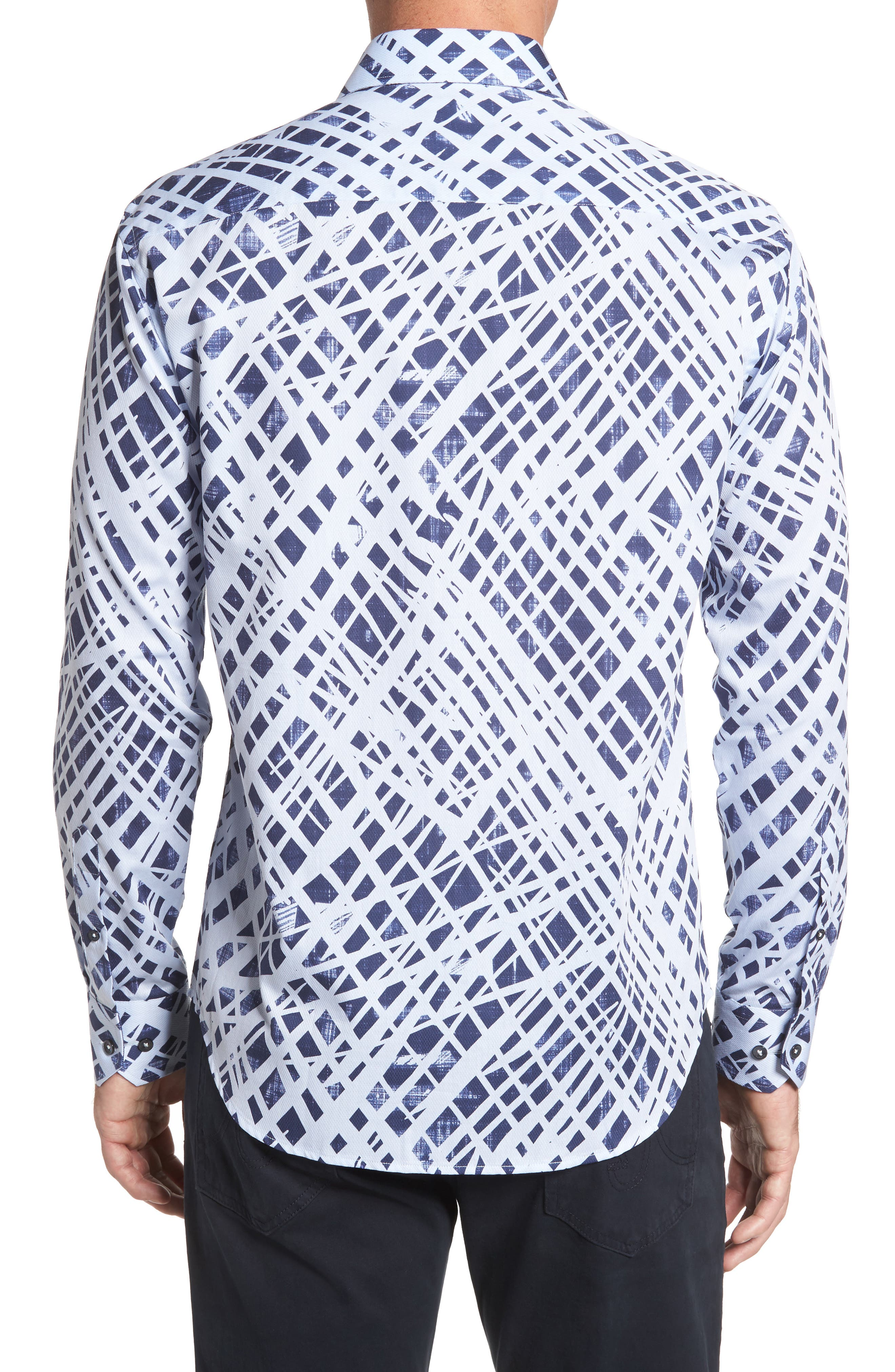 Shaped Fit Abstract Print Sport Shirt,                             Alternate thumbnail 2, color,                             451