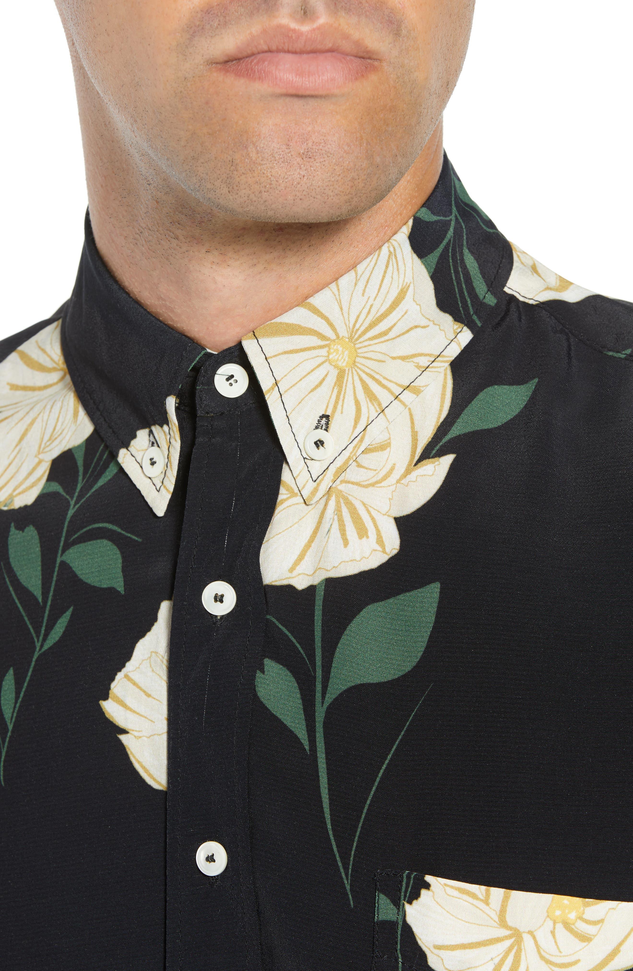 Print Sport Shirt,                             Alternate thumbnail 2, color,                             WHITE FLOWER PRINT