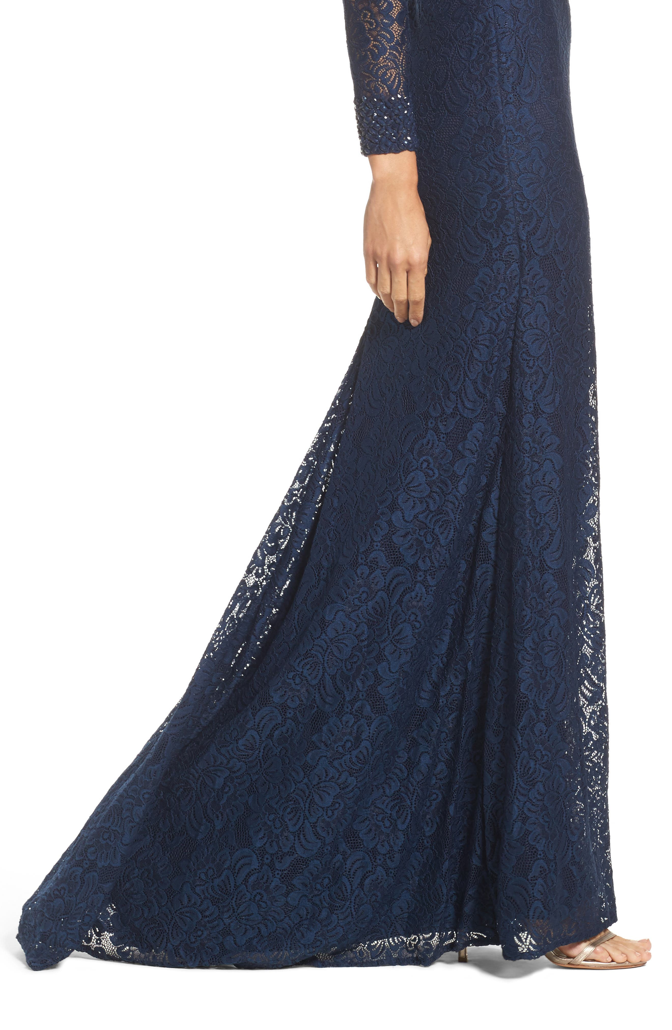 Embellished Lace Gown,                             Alternate thumbnail 4, color,                             NAVY