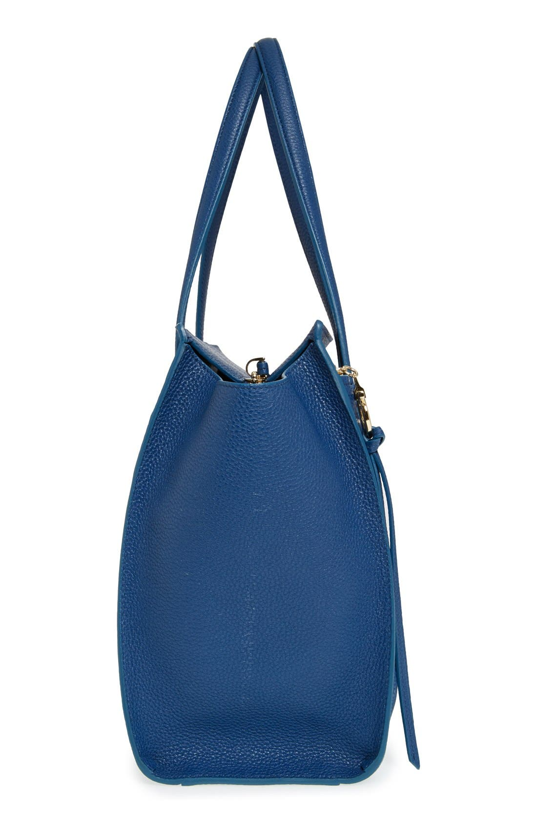 'Small Amy' Calfskin Leather Tote,                             Alternate thumbnail 3, color,                             400