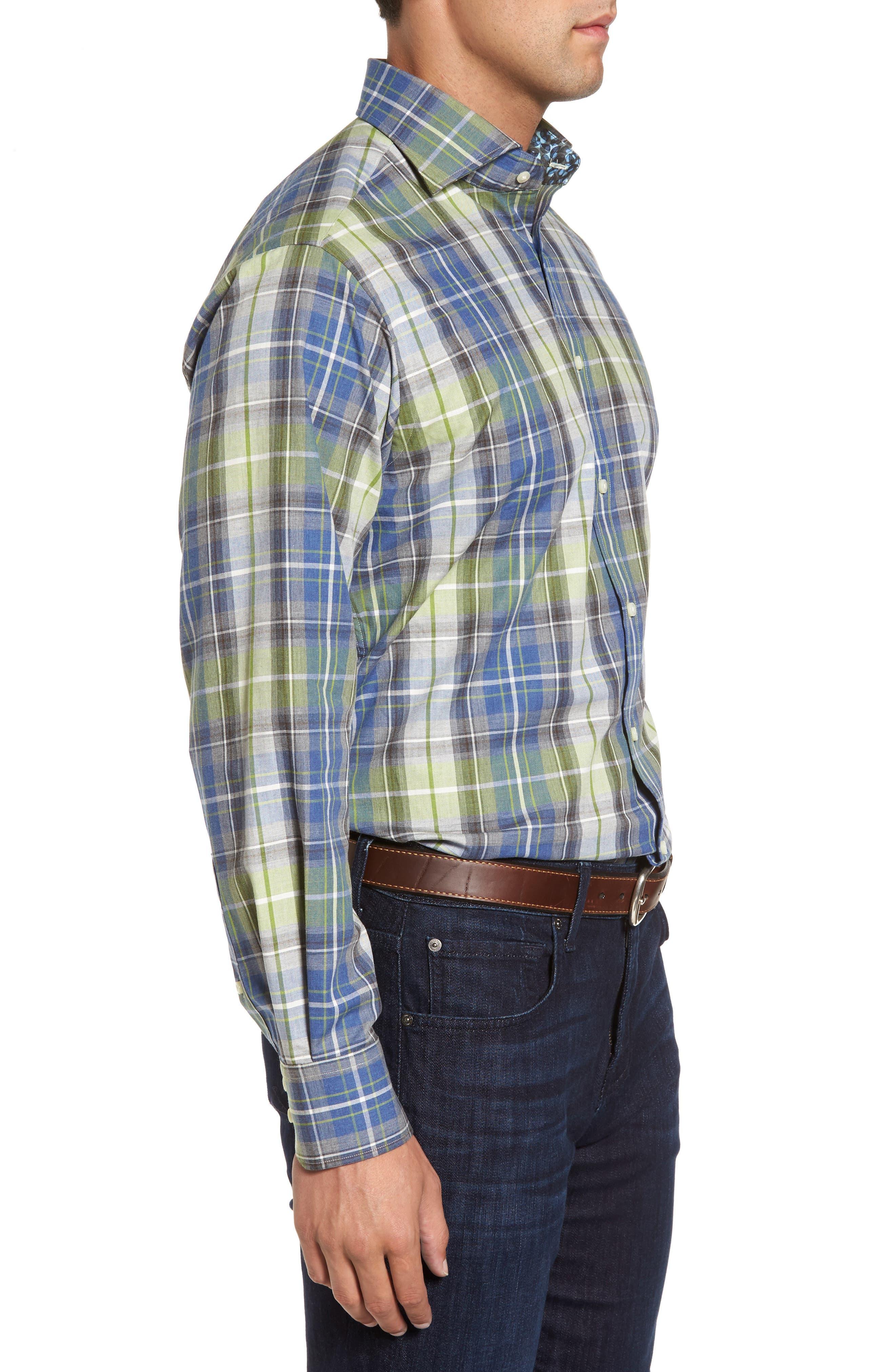 Regular Fit Plaid Sport Shirt,                             Alternate thumbnail 3, color,                             305