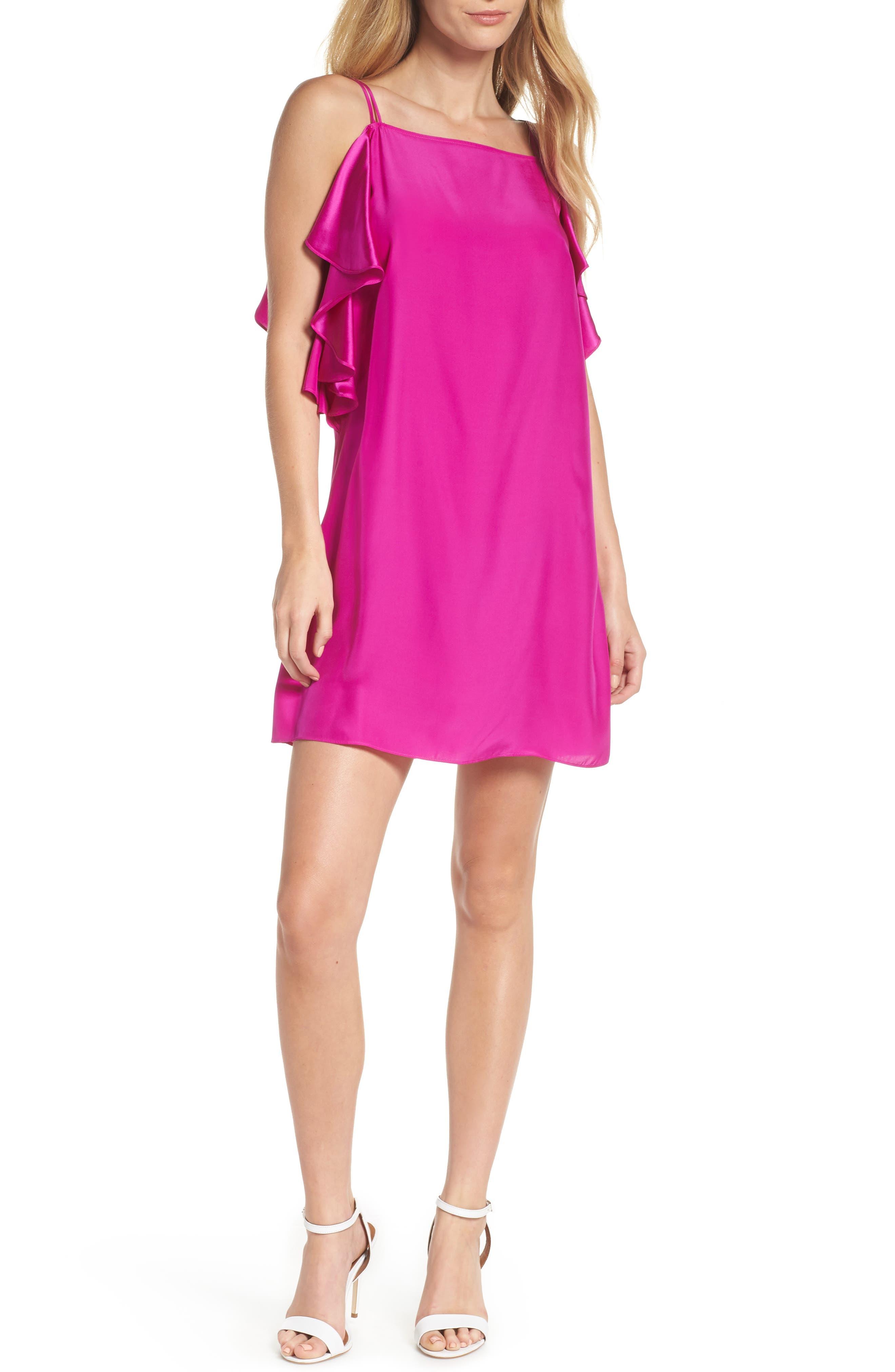 Lilly Pulitzer Kara Ruffle Silk Dress, Pink