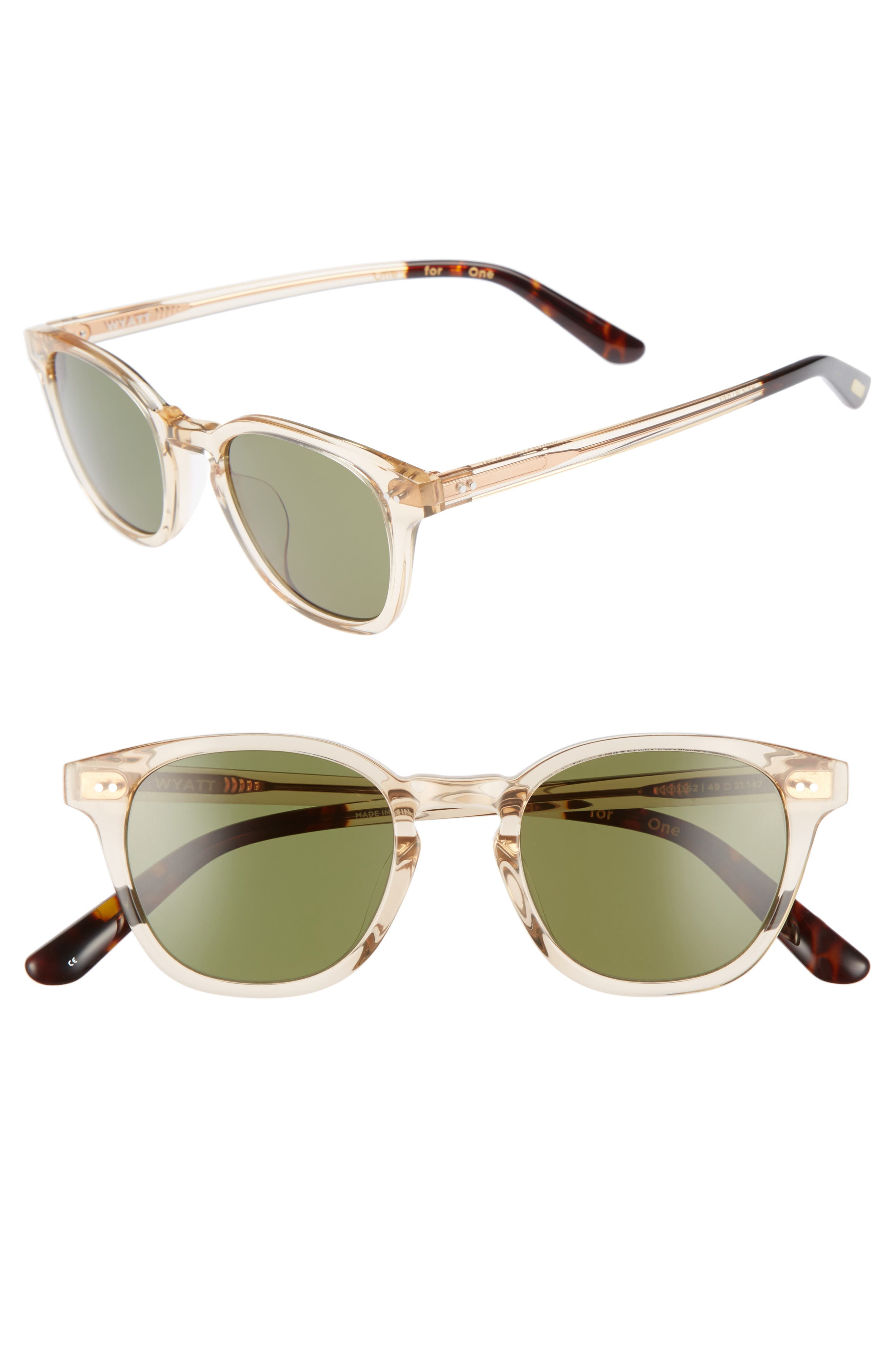 Wyatt 49mm Sunglasses,                         Main,                         color, 100