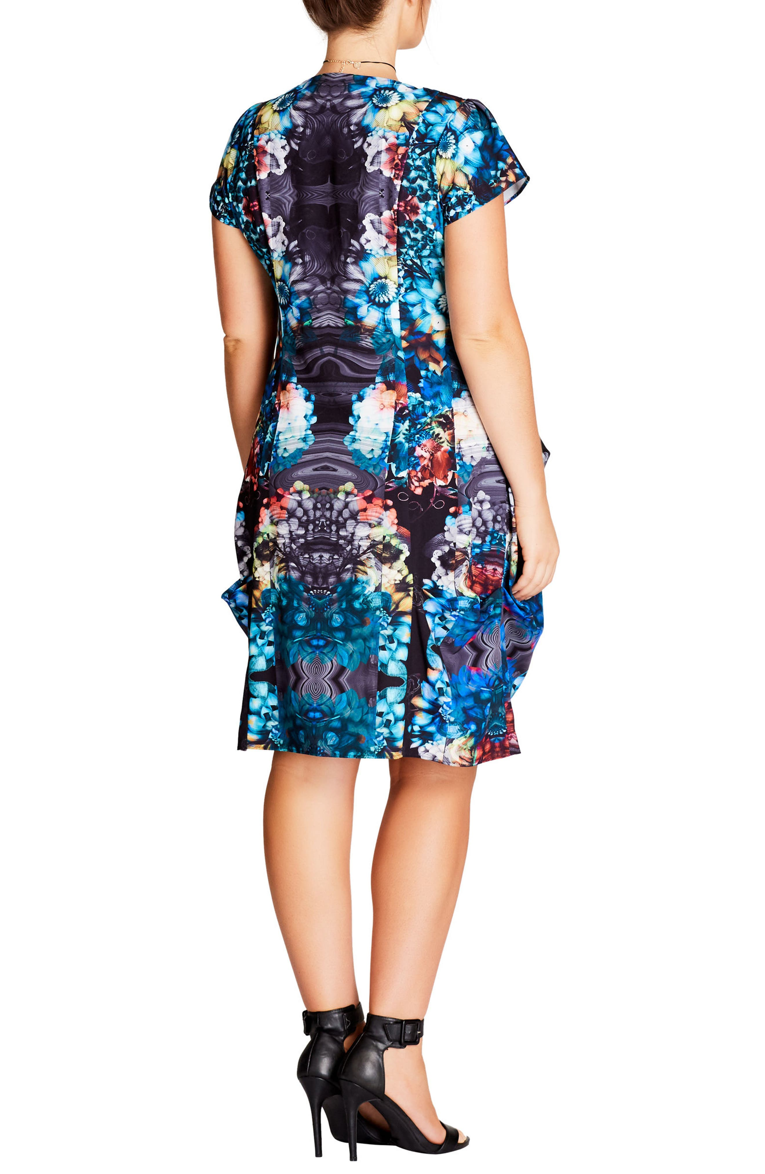 Floral Power Tunic Dress,                             Alternate thumbnail 2, color,                             001