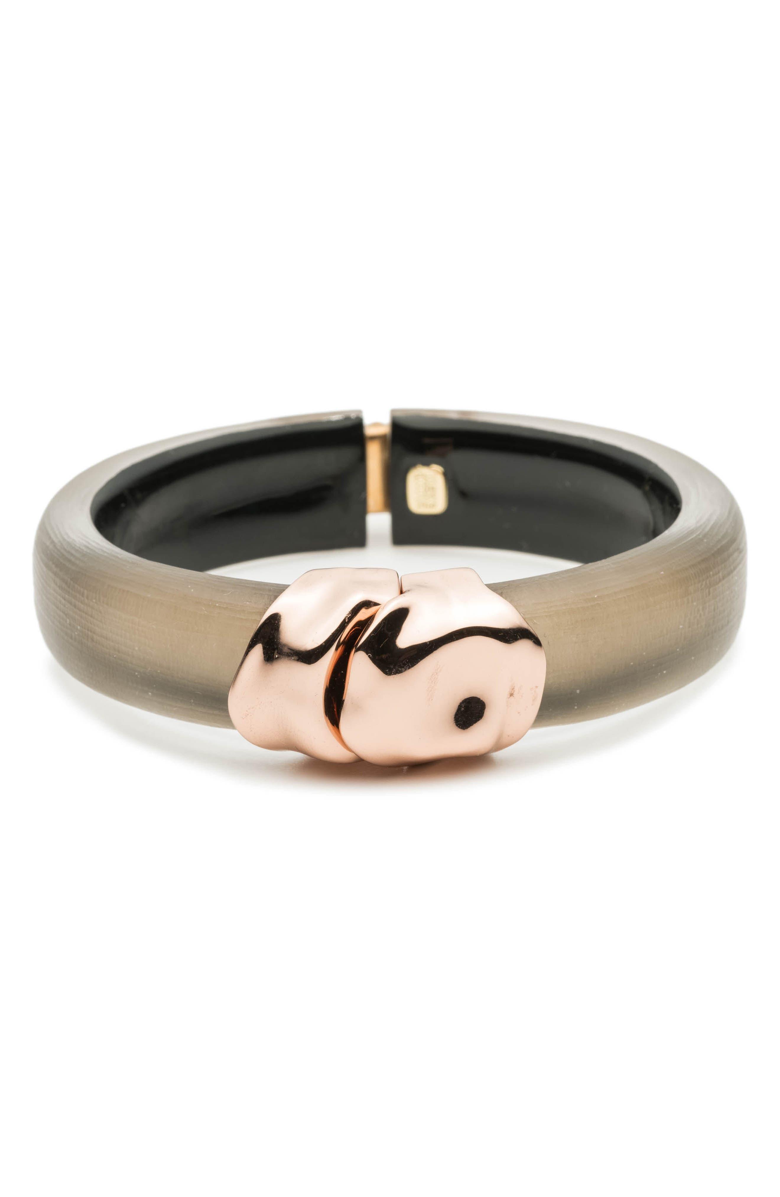 Metal Lucite<sup>®</sup> Hinge Bracelet,                         Main,                         color, WARM GREY